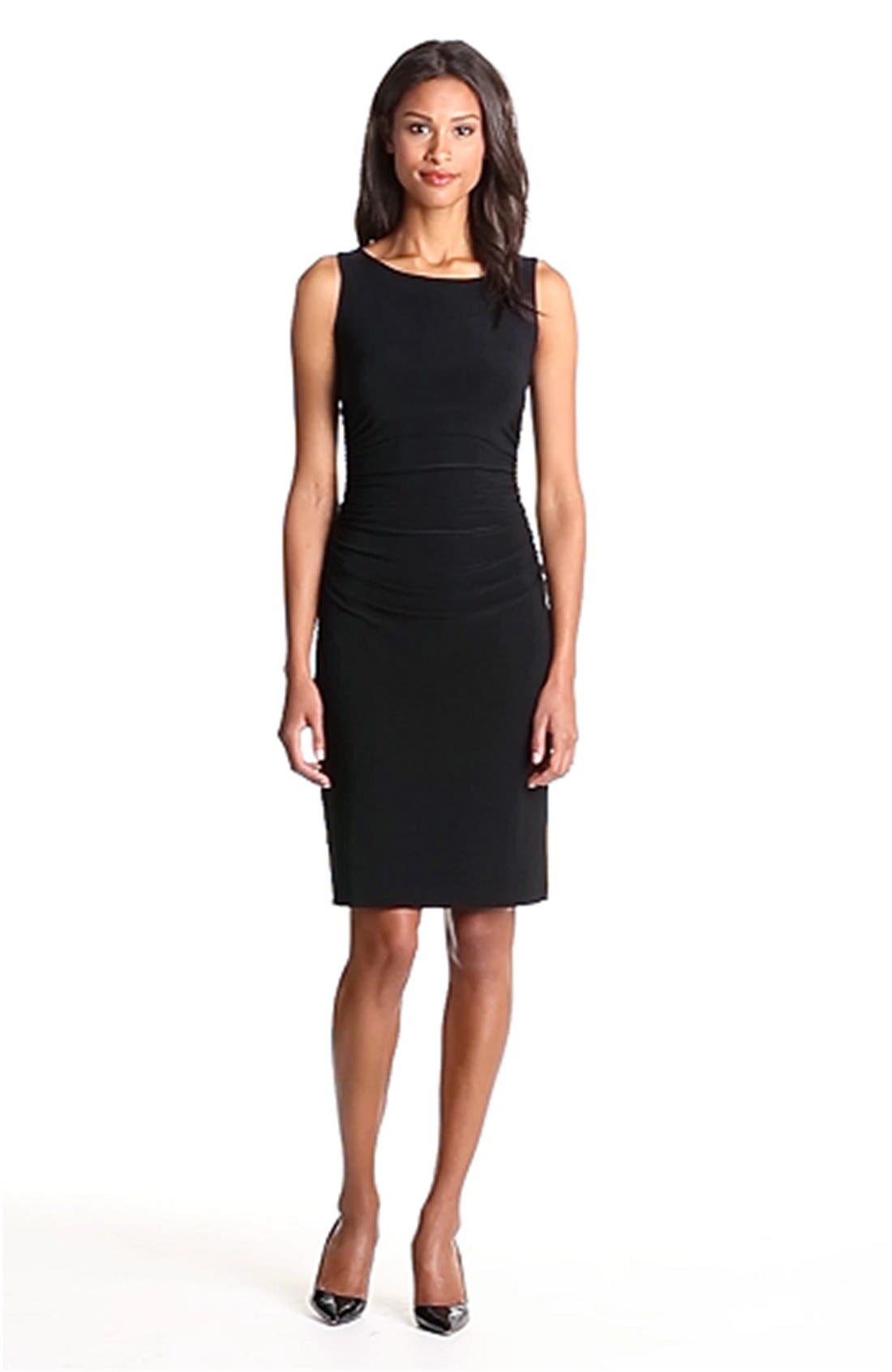 Shirred Sleeveless Dress,                             Alternate thumbnail 4, color,                             001