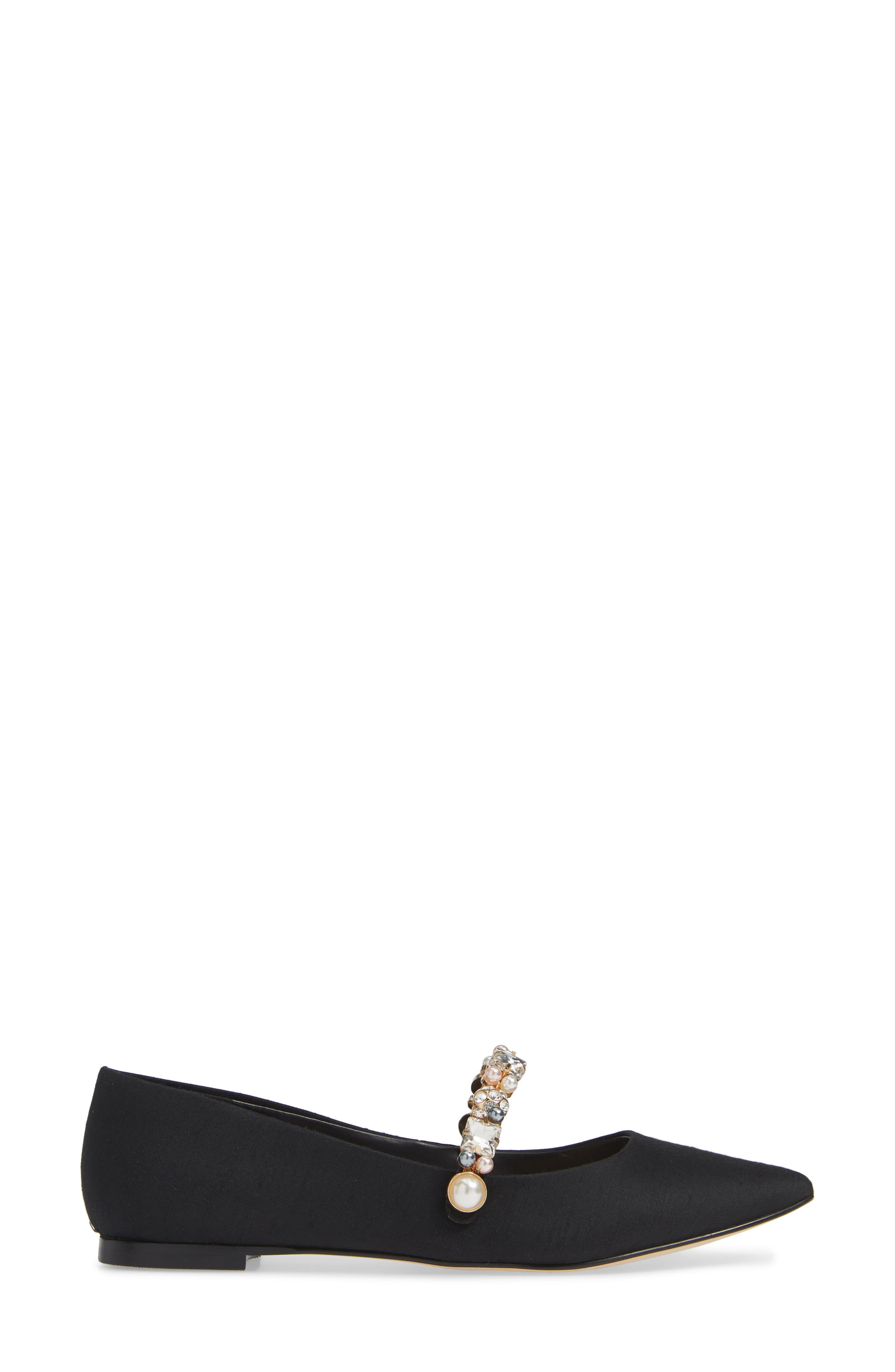 KARL LAGERFELD PARIS,                             Noel Imitation Pearl Embellished Flat,                             Alternate thumbnail 3, color,                             001