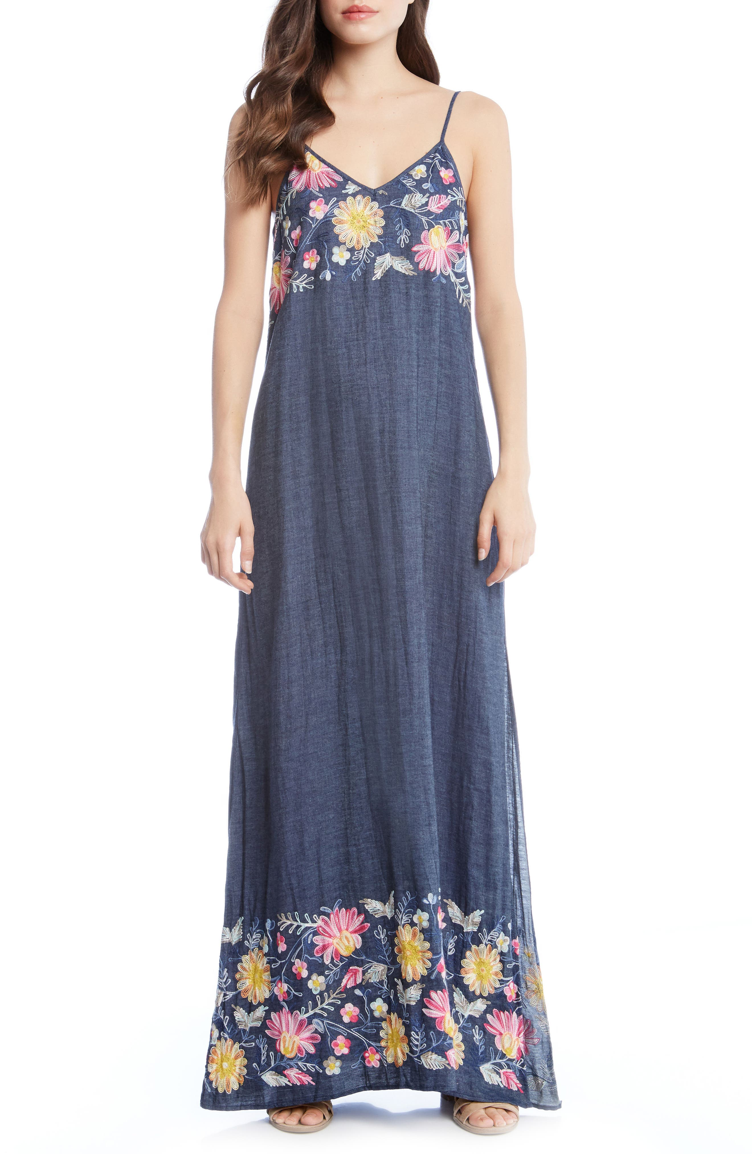 Embroidered Maxi Dress,                             Main thumbnail 1, color,                             DENIM