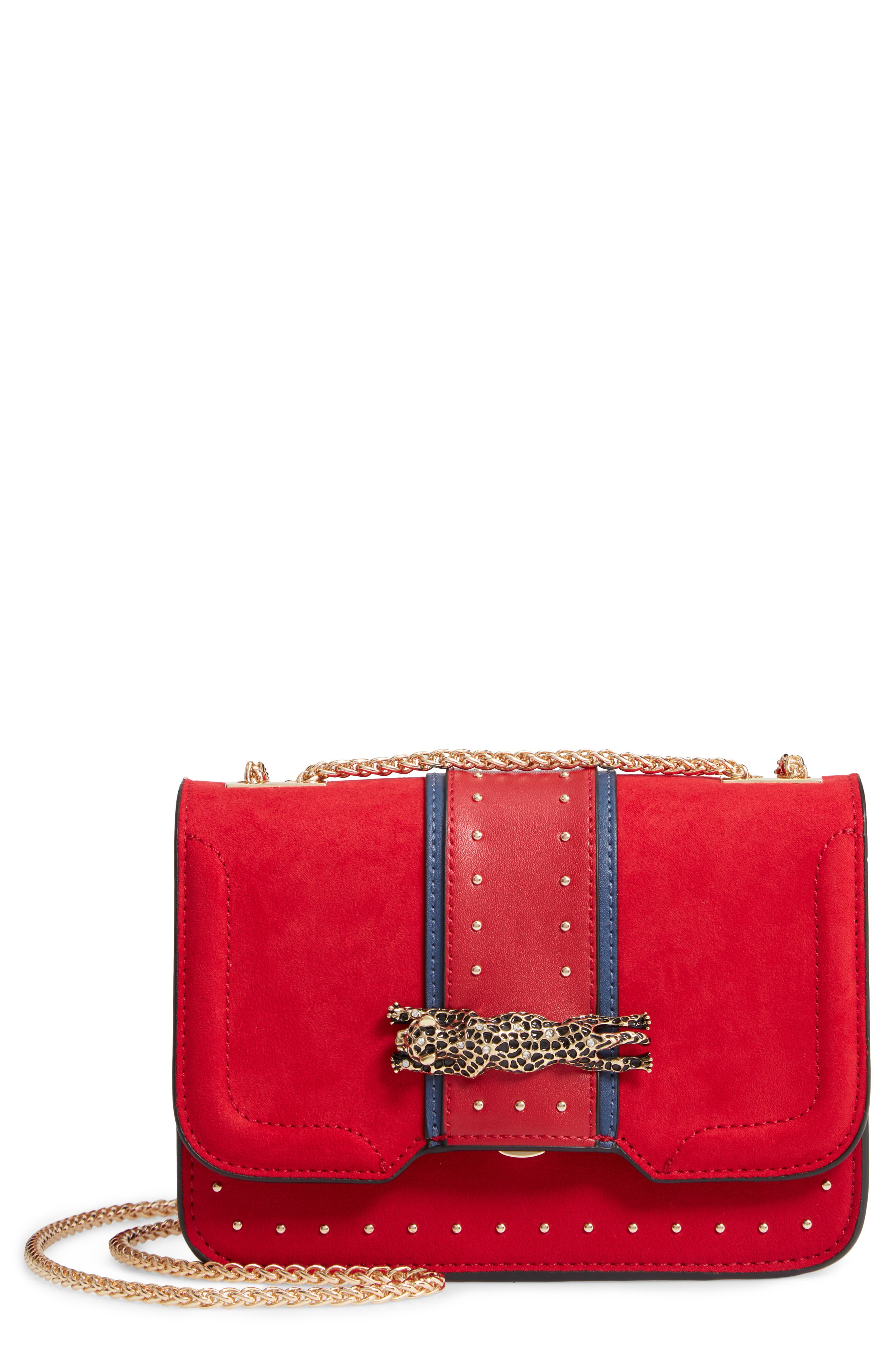 Panther Crossbody Bag,                             Main thumbnail 1, color,                             RED