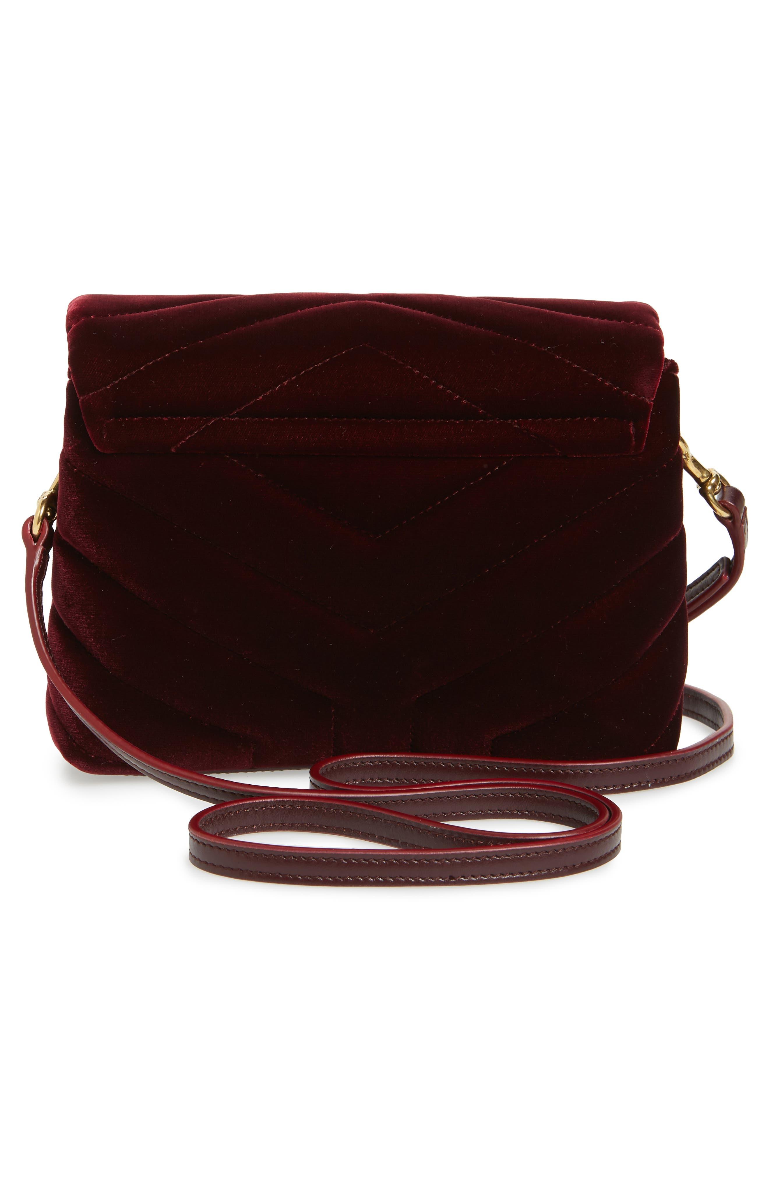 SAINT LAURENT,                             Toy Loulou Velvet Crossbody Bag,                             Alternate thumbnail 3, color,                             930