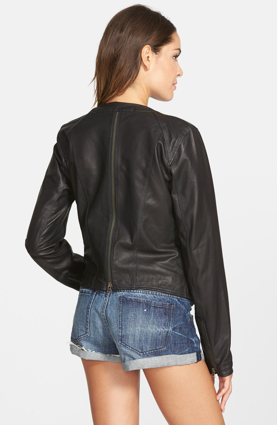 VOLCOM,                             'Stone Row' Moto Leather Jacket,                             Alternate thumbnail 2, color,                             001