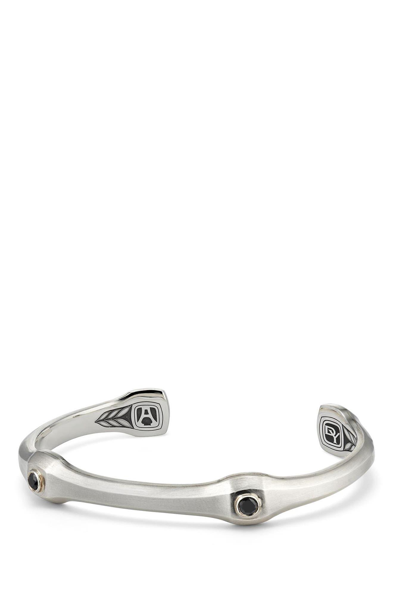 Anvil Cuff Bracelet with Black Diamond, 10.5mm,                             Main thumbnail 1, color,                             SILVER/ BLACK DIAMOND