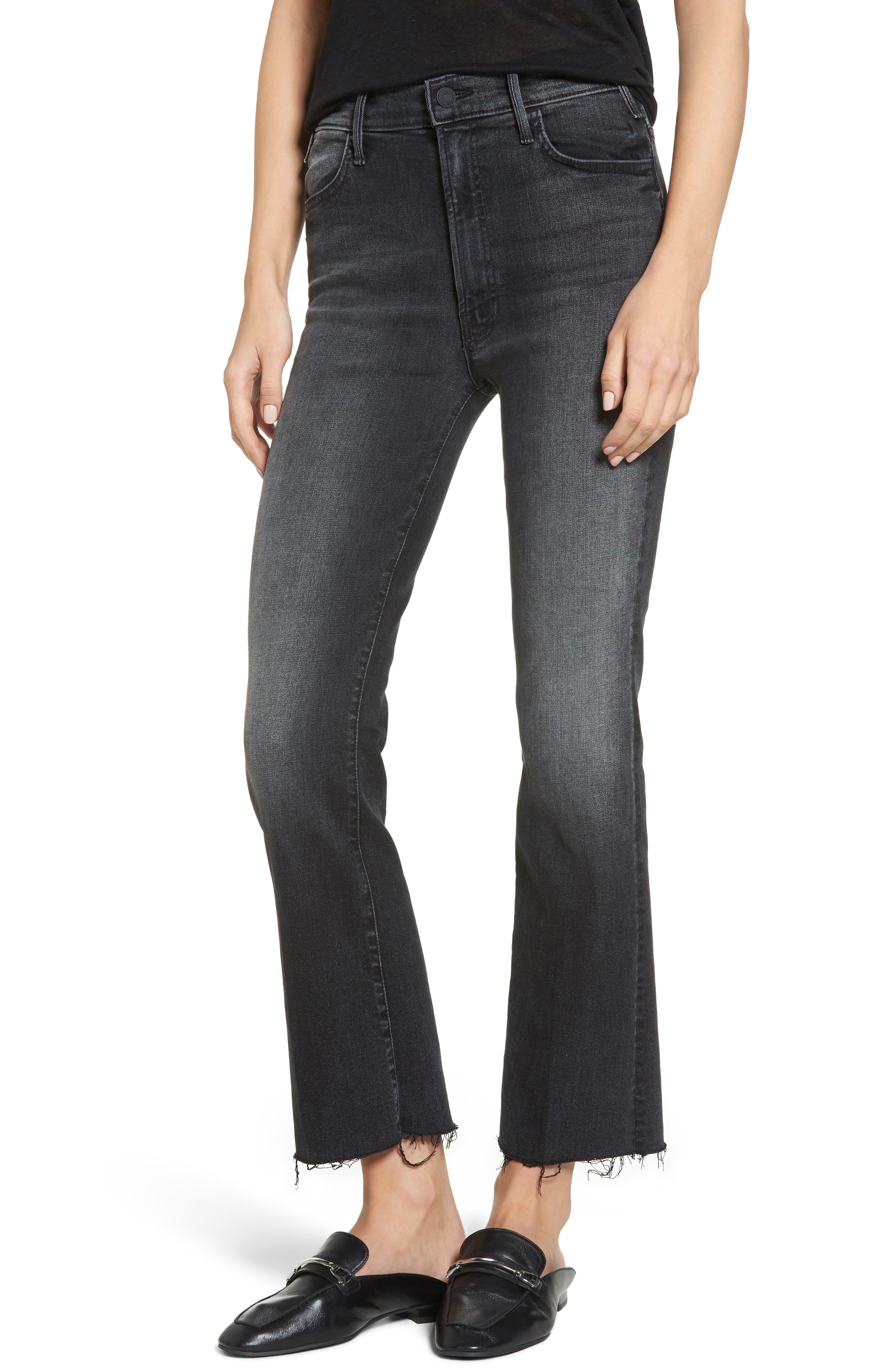 The Hustler Frayed Ankle Jeans,                         Main,                         color, 001