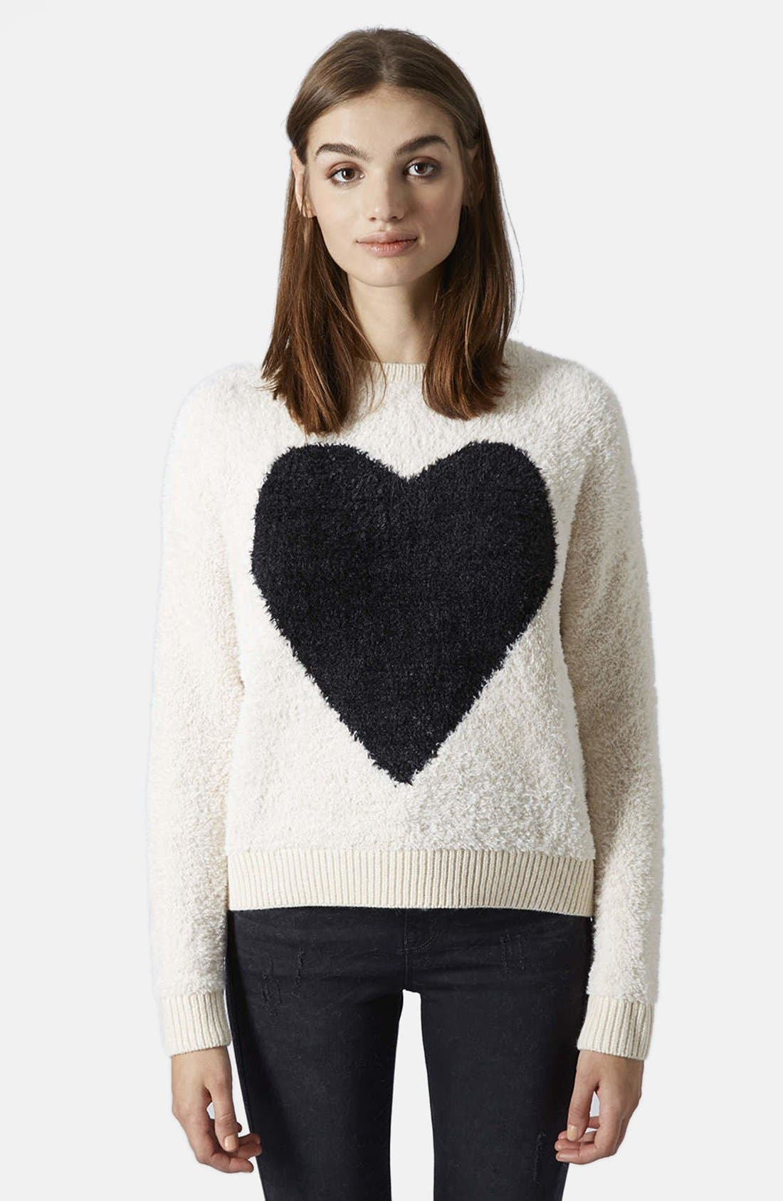 'Babe Heart' Sweater, Main, color, 101