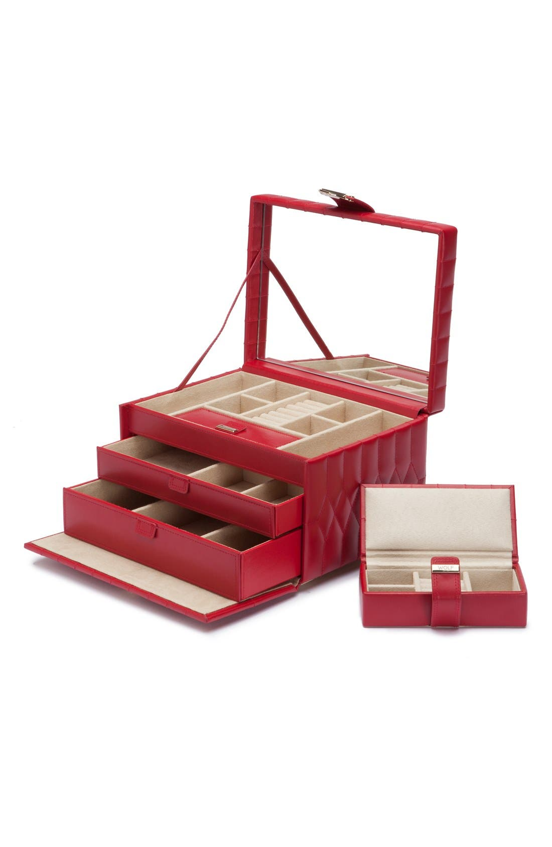 'Caroline' Jewelry Case,                             Alternate thumbnail 2, color,                             RED