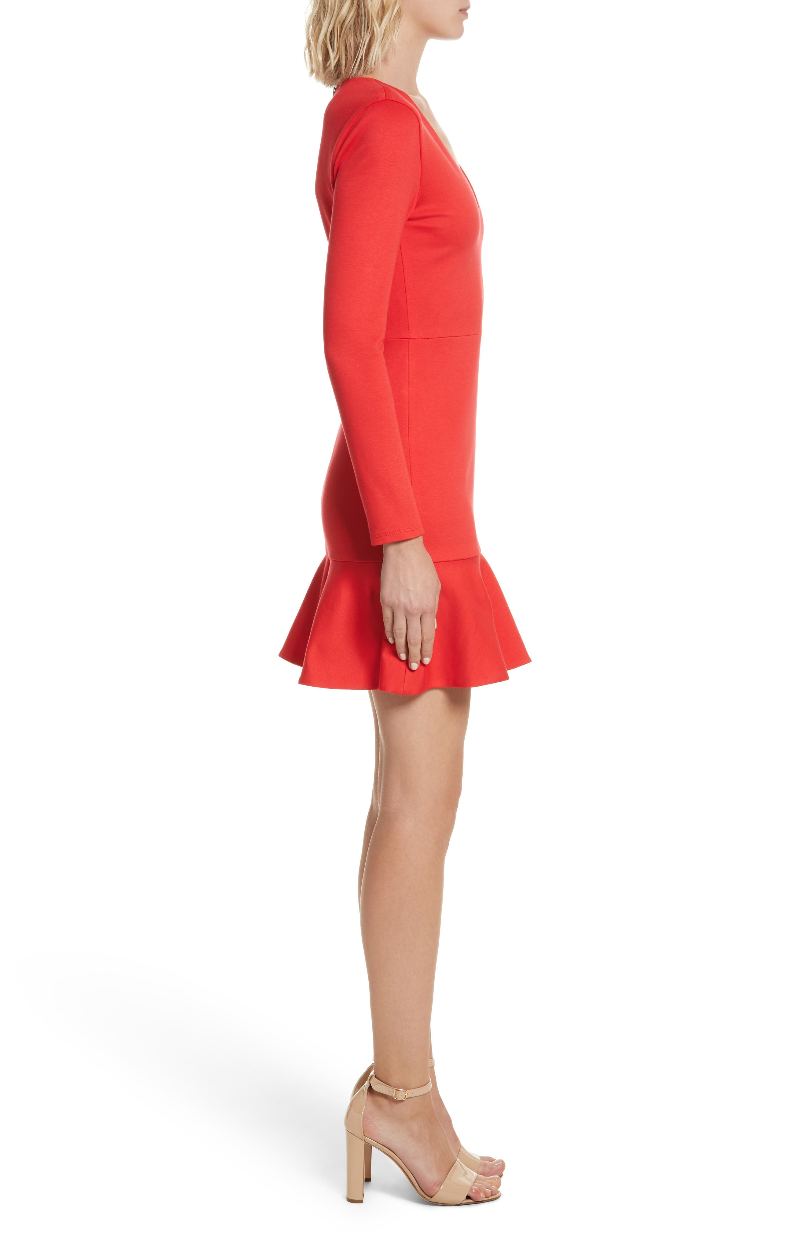 Francine Ruffle Hem Fit & Flare Dress,                             Alternate thumbnail 3, color,                             612
