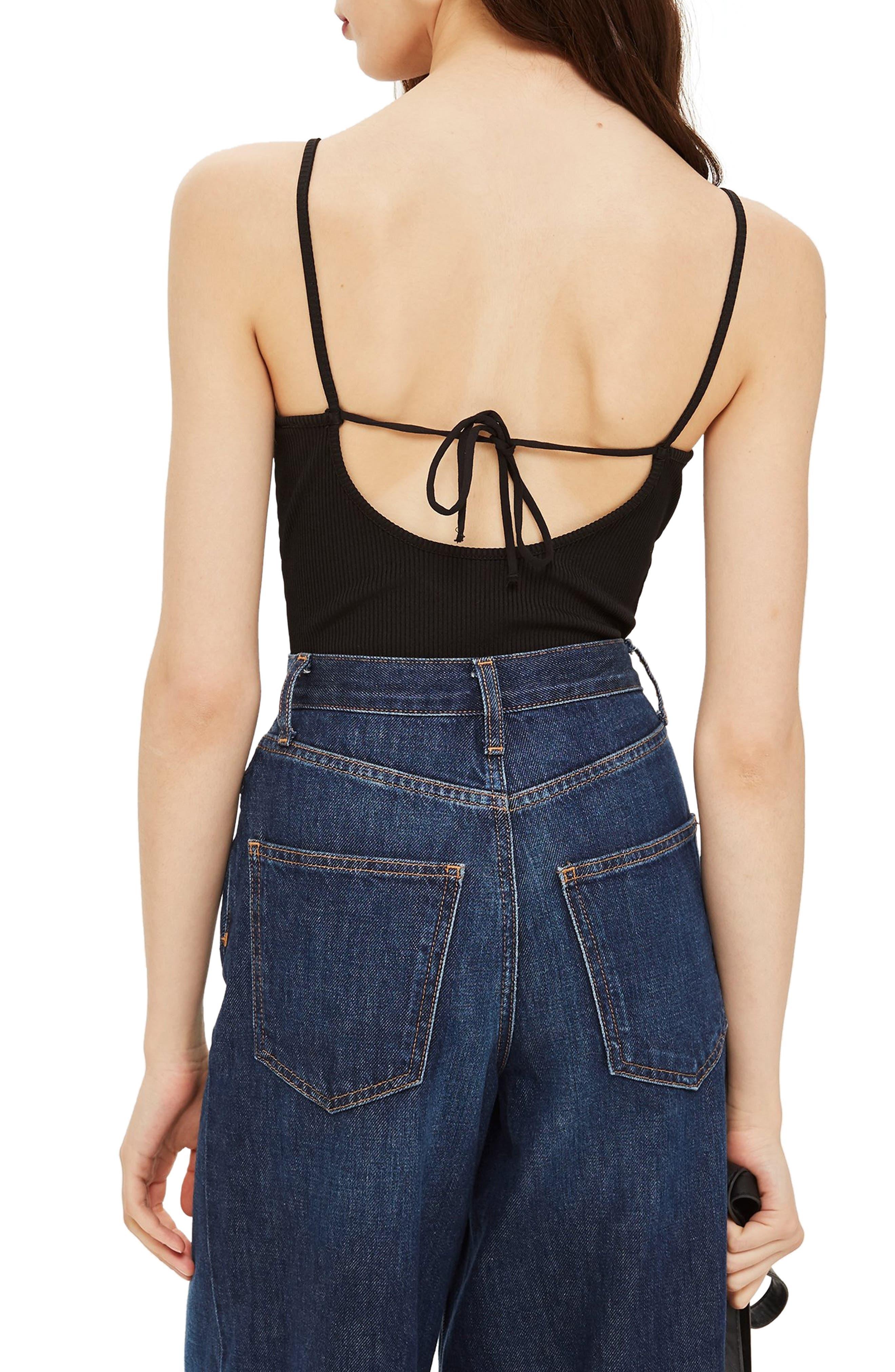 Strappy Lace Trim Bodysuit,                             Alternate thumbnail 2, color,                             BLACK