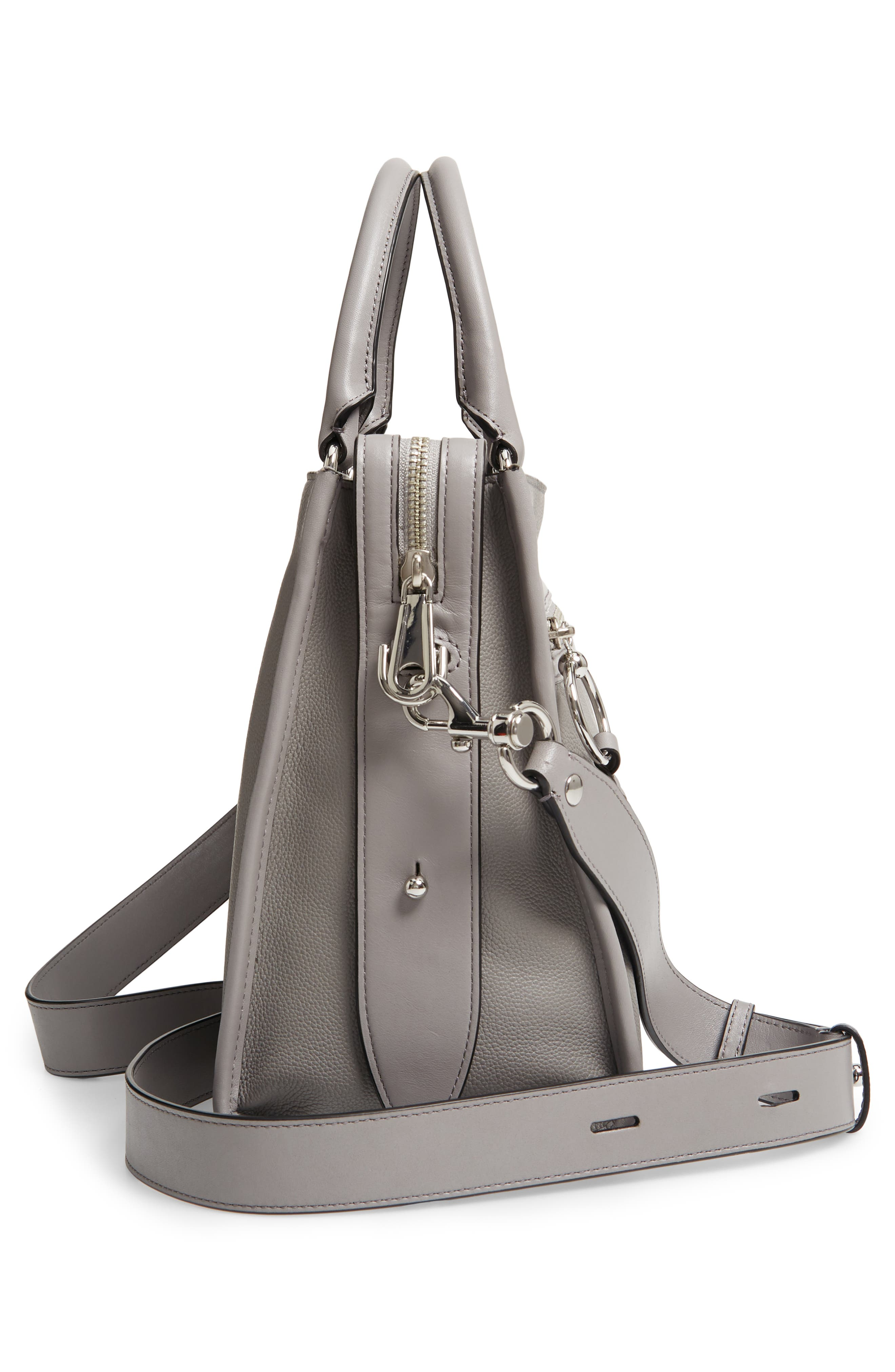 REBECCA MINKOFF,                             Bedford Zip Leather Satchel,                             Alternate thumbnail 5, color,                             GREY