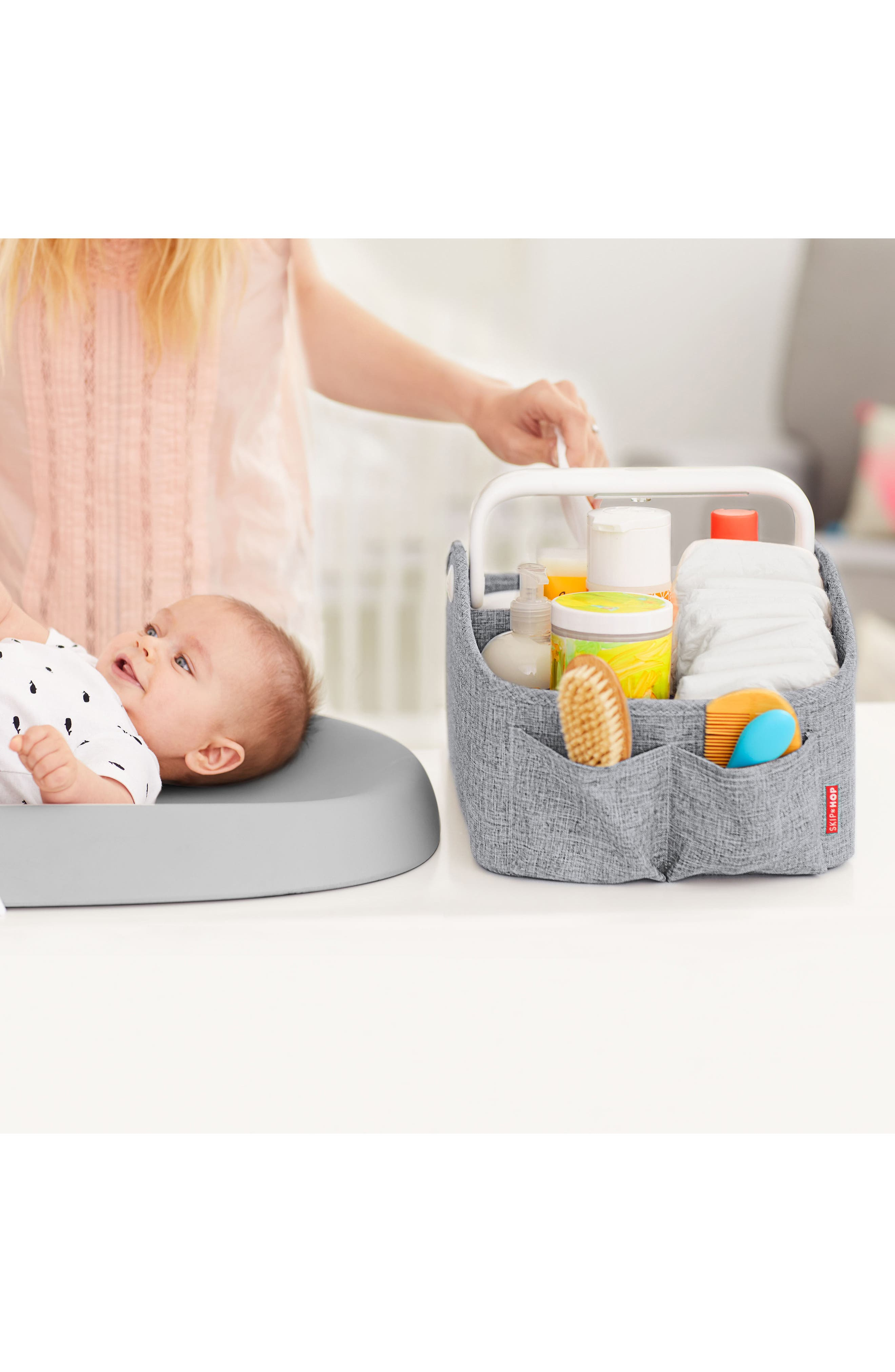 Light Up Diaper Caddy,                             Alternate thumbnail 10, color,                             HEATHER GREY