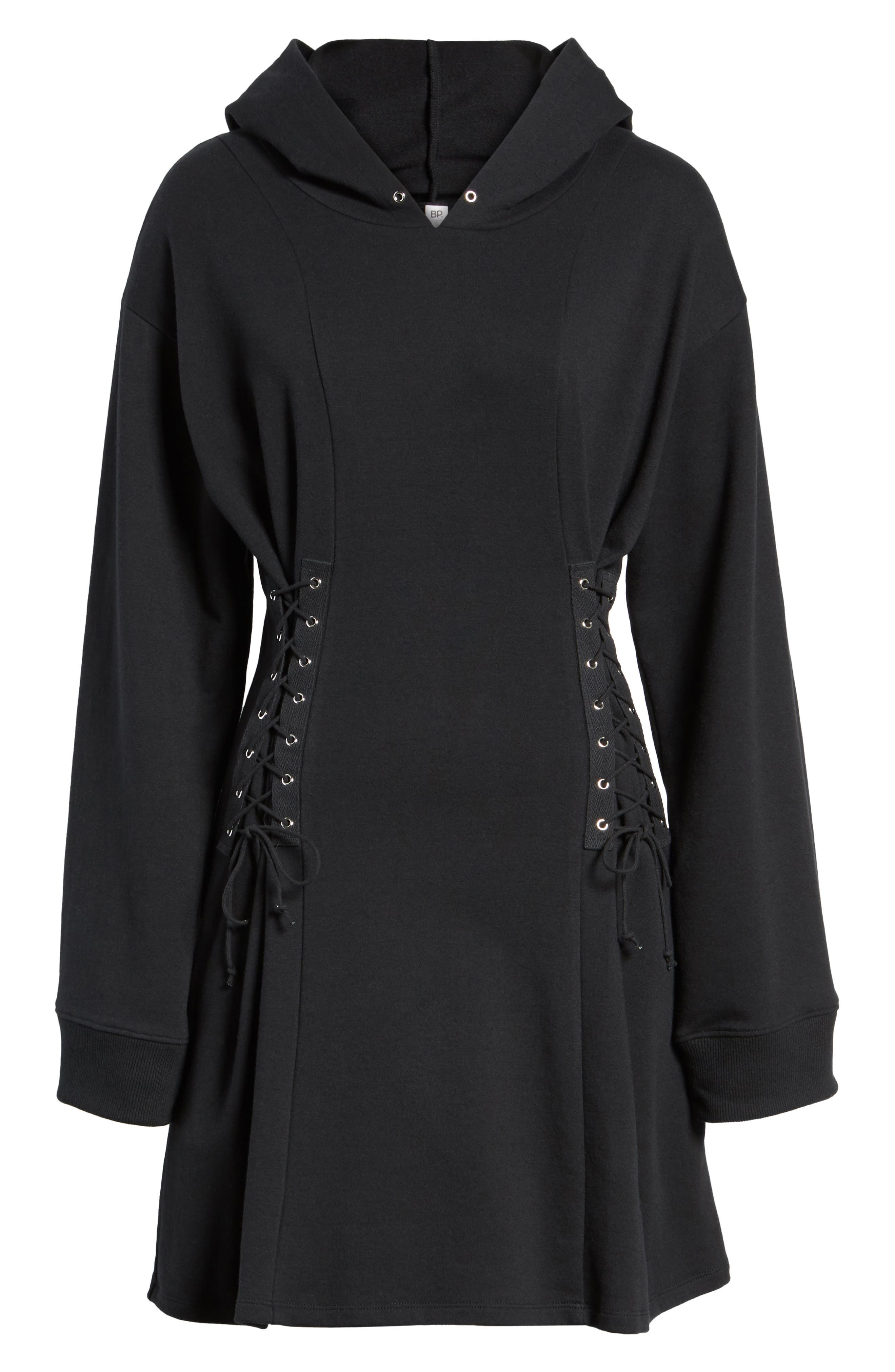 Corset Hoodie Sweatshirt Dress,                             Alternate thumbnail 6, color,                             001