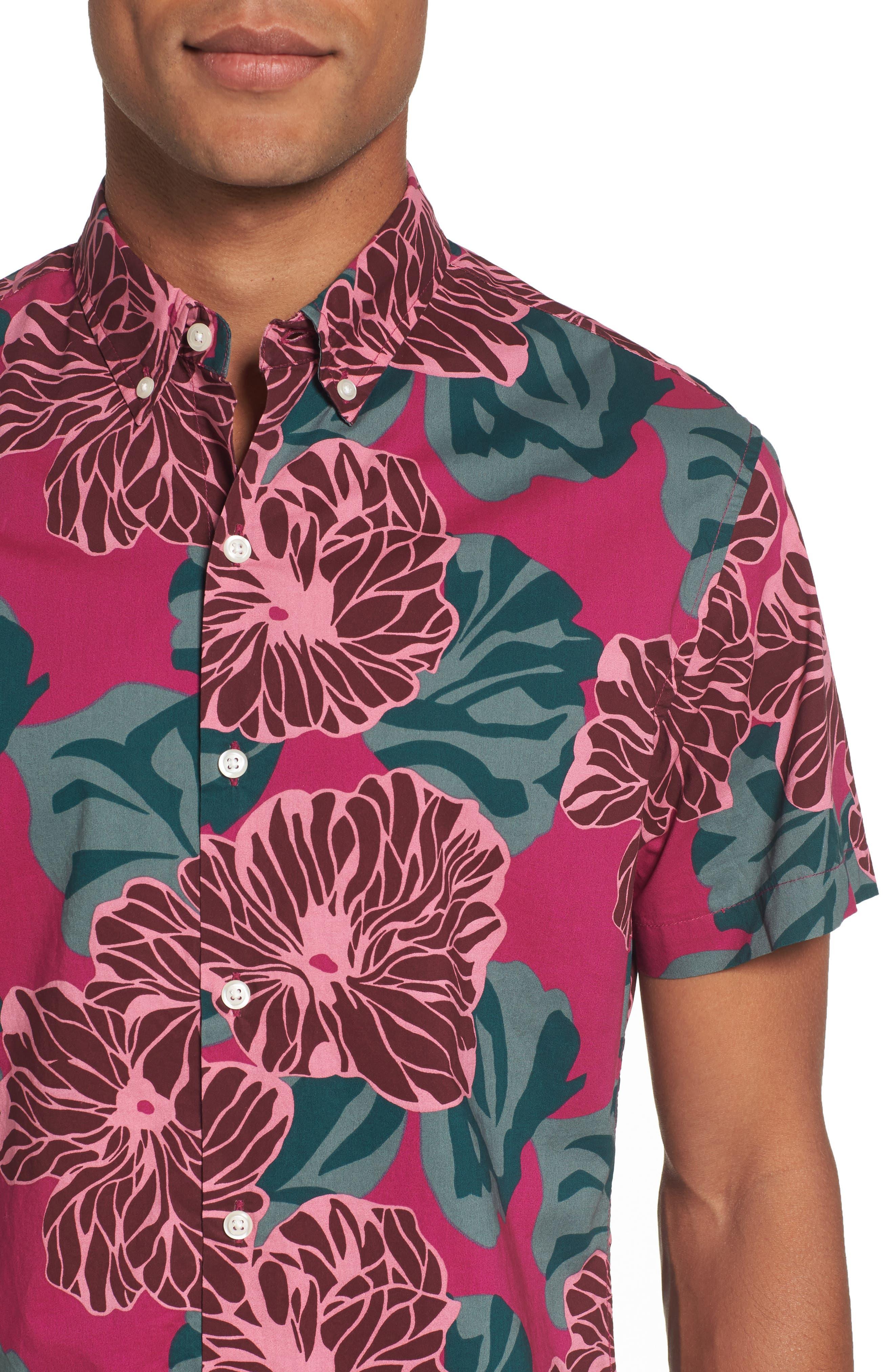 Riviera Slim Fit Short Sleeve Sport Shirt,                             Alternate thumbnail 4, color,                             650