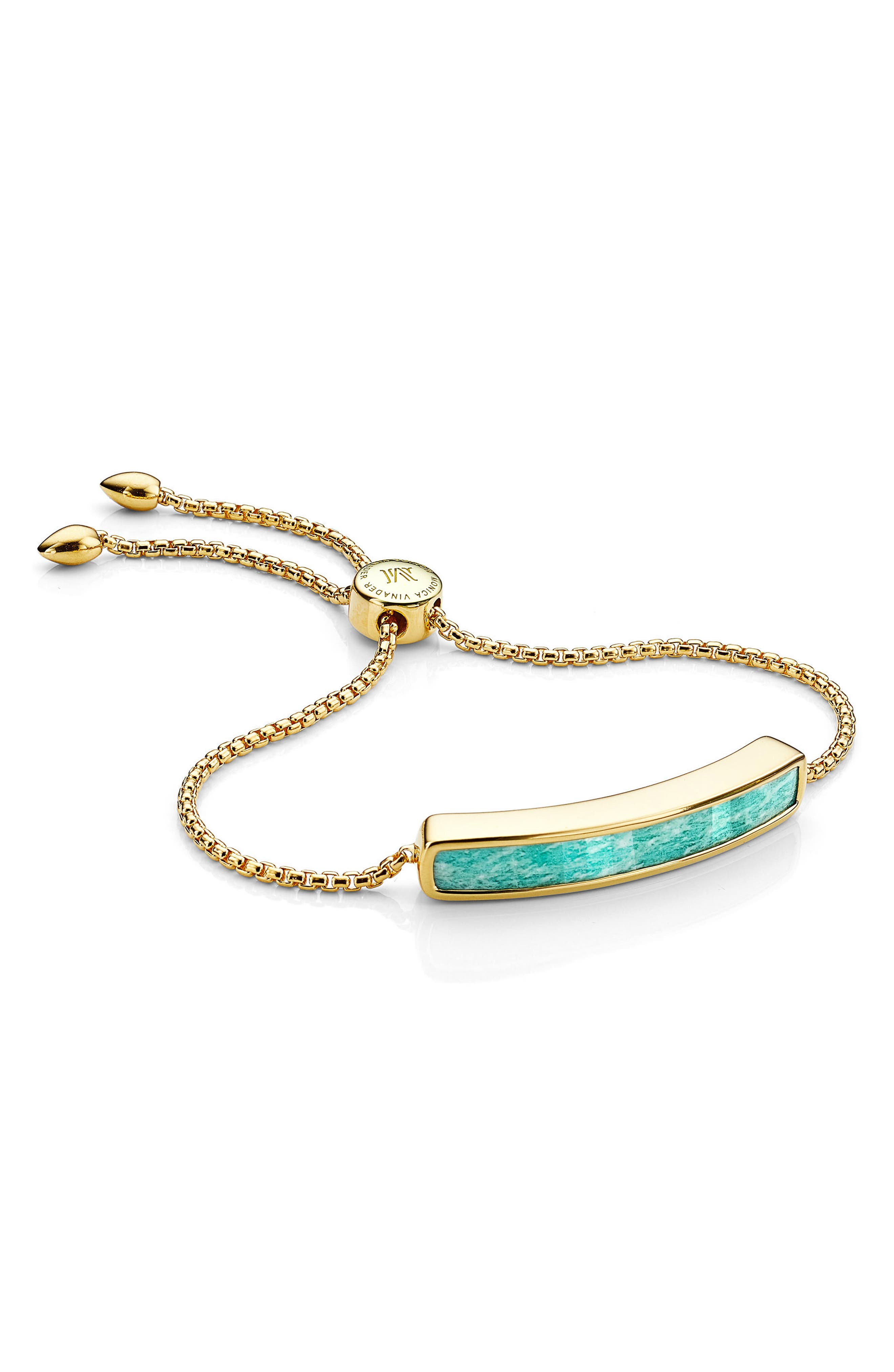 MONICA VINADER,                             Engravable Baja Stone Bracelet,                             Main thumbnail 1, color,                             GOLD/ AMAZONITE