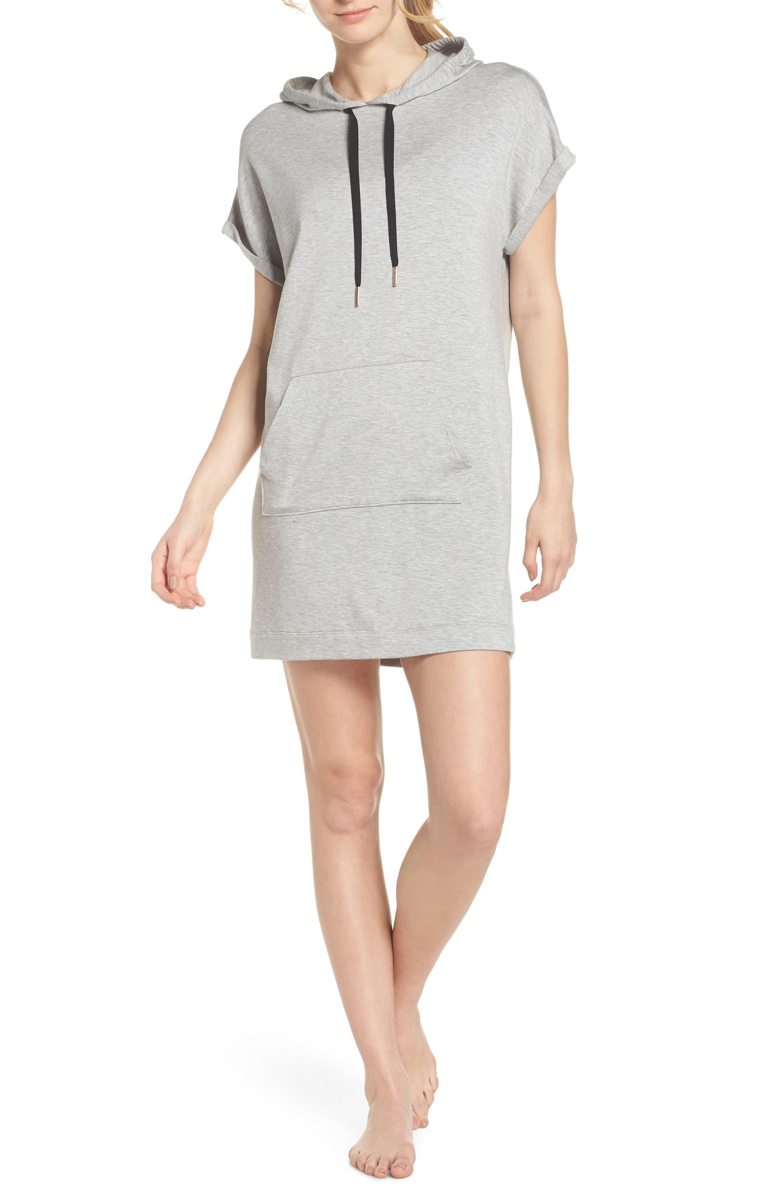 It's All Hoodie Hooded Sweatshirt Dress,                         Main,                         color, LIGHT HEATHER GRAY