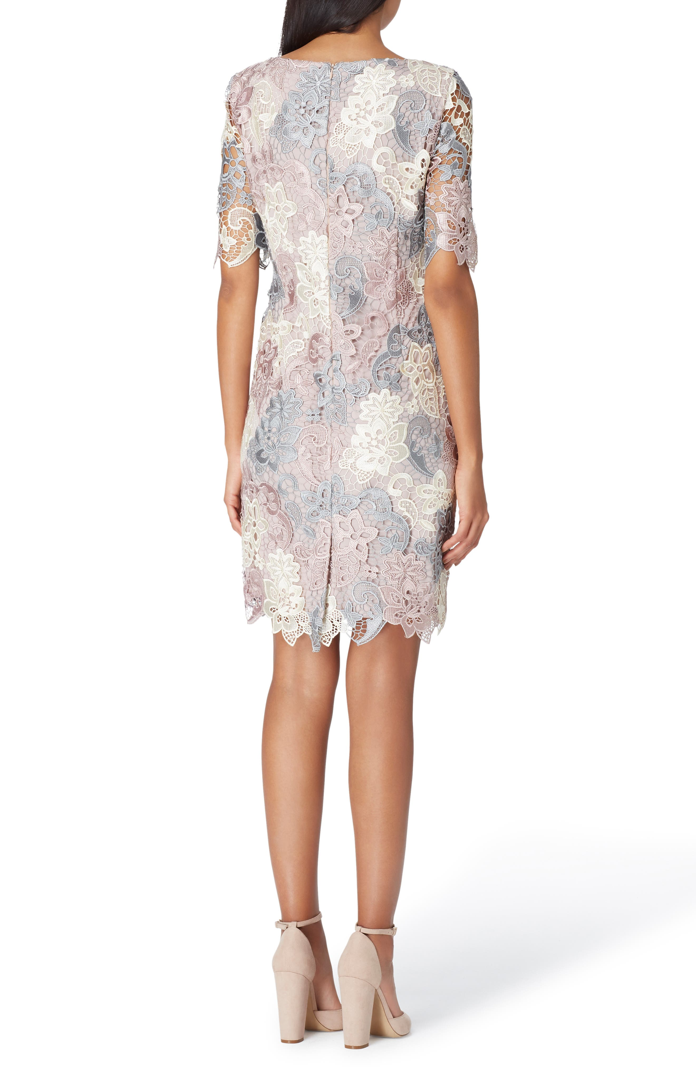 Three-Quarter Sleeve Lace Sheath Dress,                             Alternate thumbnail 2, color,                             CREAM/ GREY/ PETAL