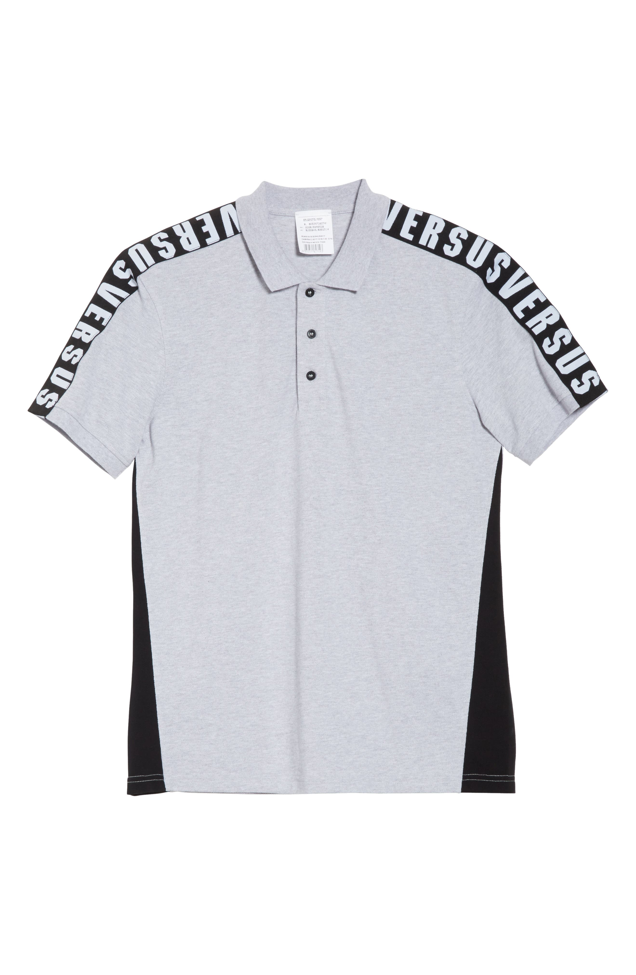 VERSUS by Versace Shoulder Tape Piqué Polo,                             Alternate thumbnail 6, color,                             017
