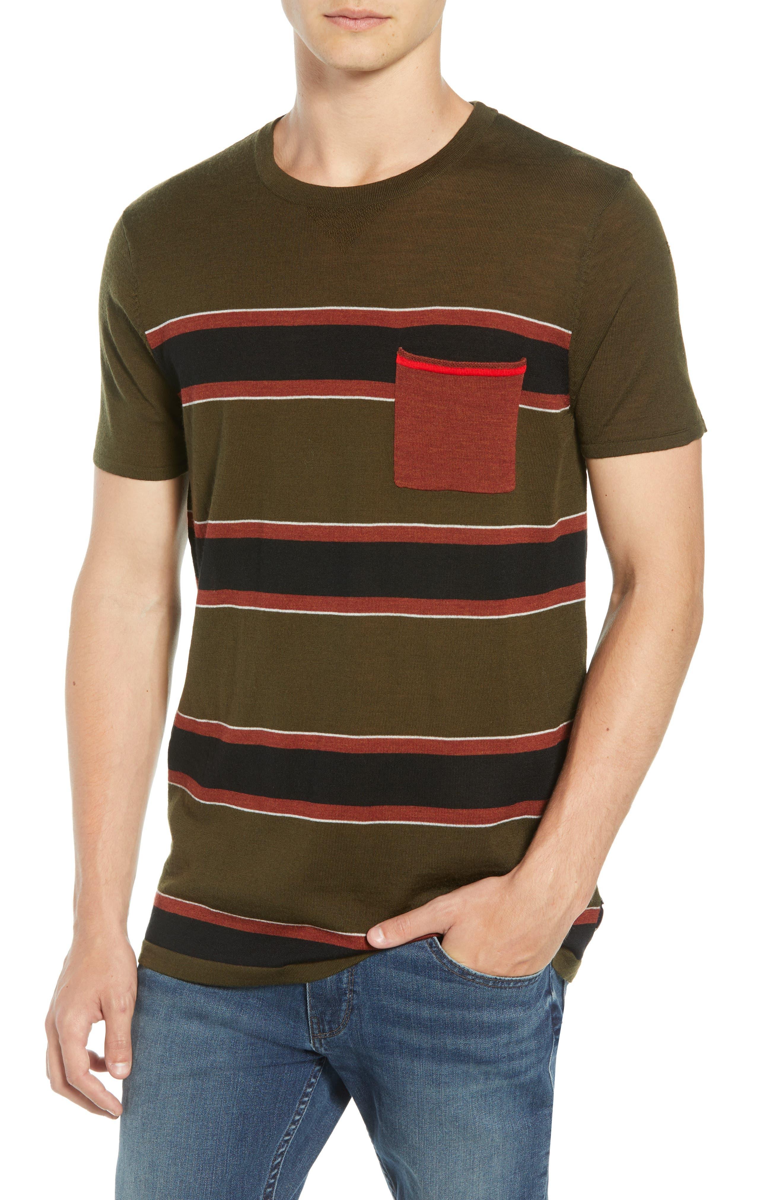 Scotch & Soda Stripe Merino Wool Pocket T-Shirt, Brown