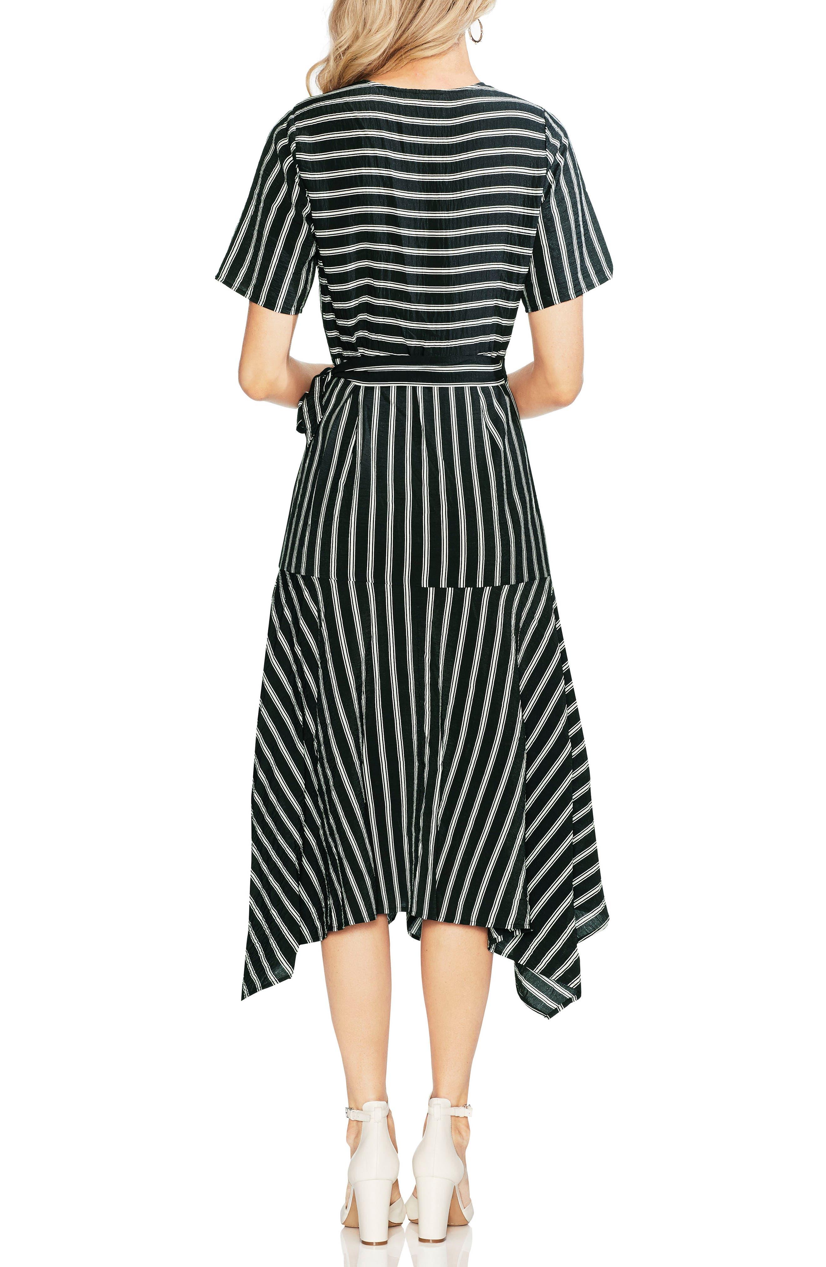 Playful Stripe Wrap Dress,                             Alternate thumbnail 2, color,                             RICH BLACK
