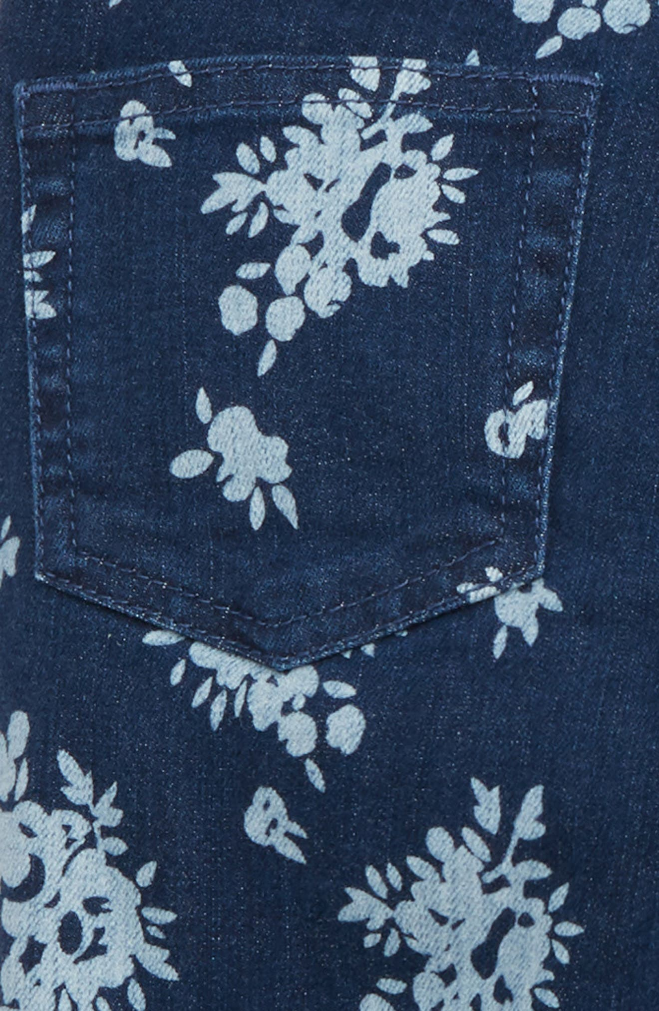 Flower Print Stretch Toothpick Jeans,                             Alternate thumbnail 3, color,                             PORTLAND WASH