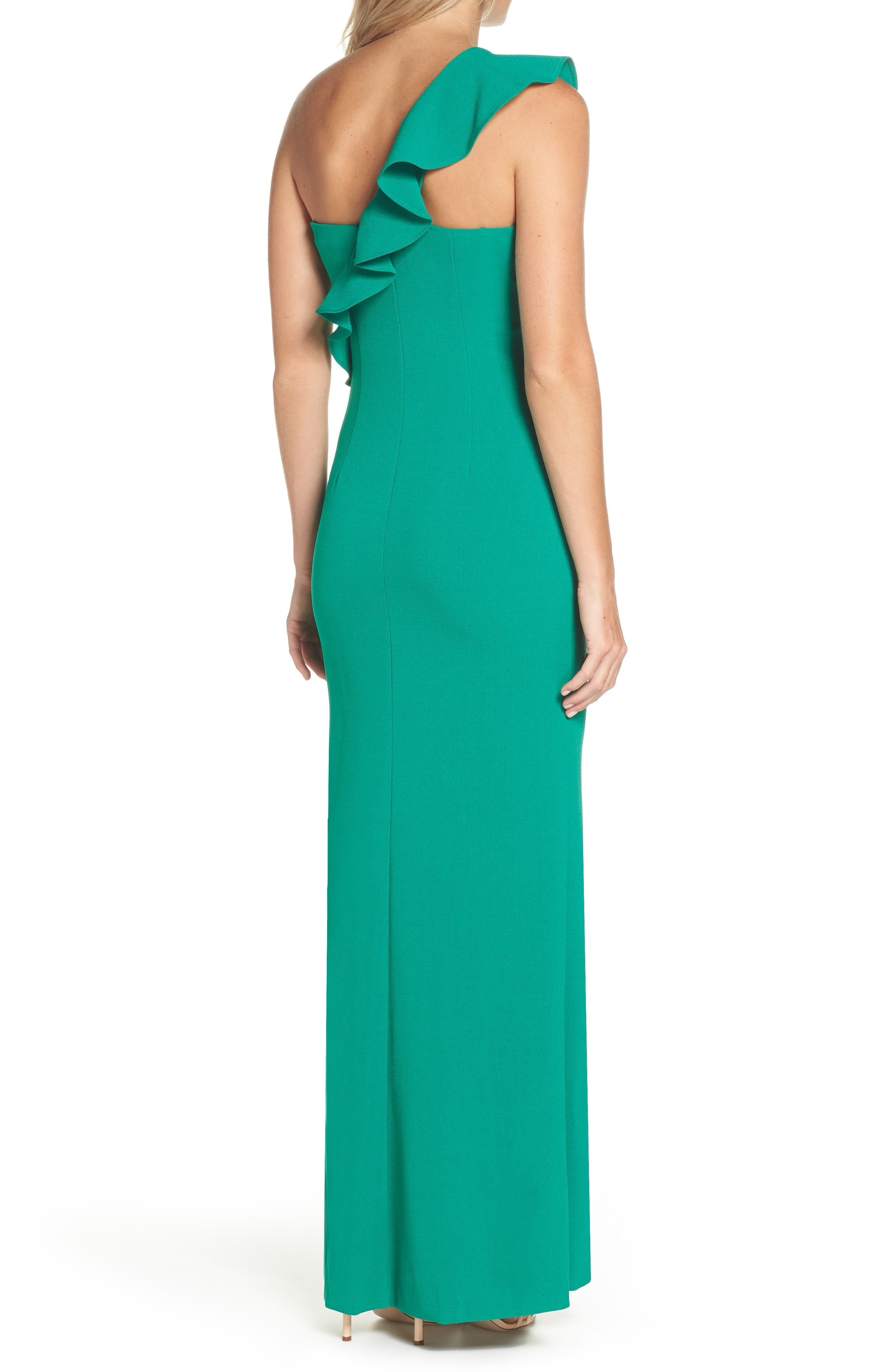 One-Shoulder Gown,                             Alternate thumbnail 2, color,                             GREEN