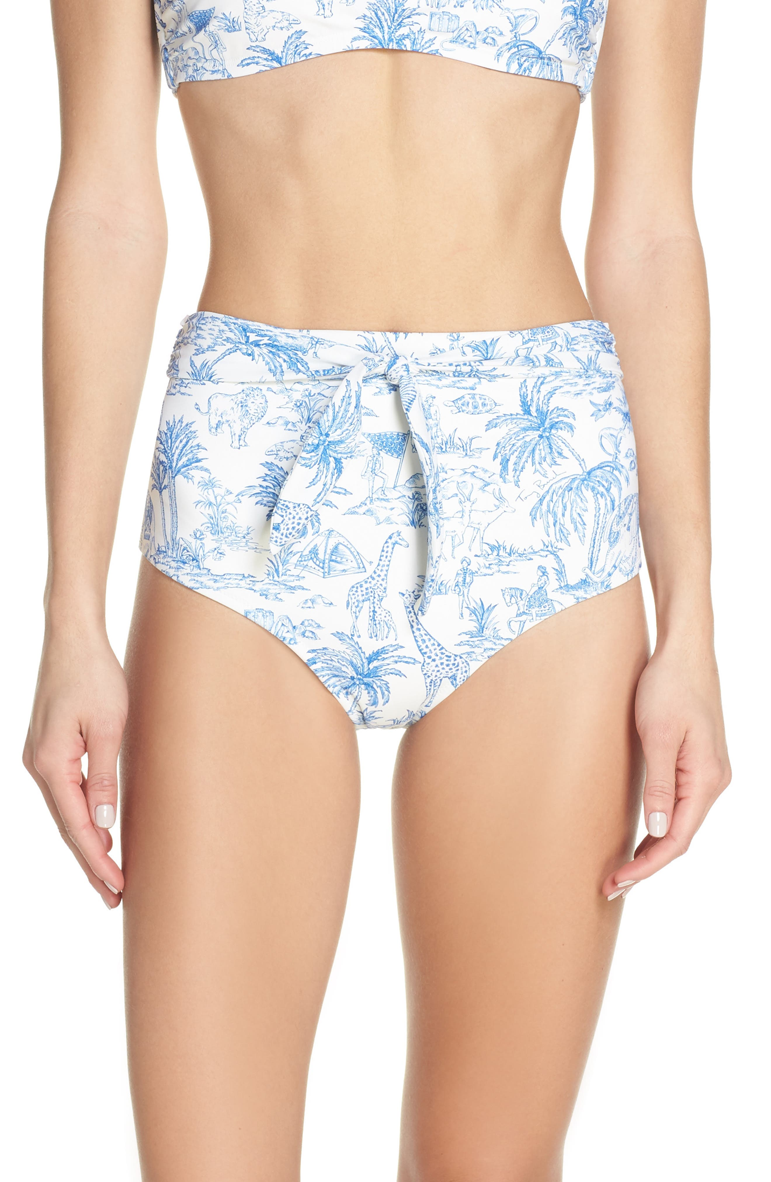 TORY BURCH Sash Tie High Waist Bikini Bottoms, Main, color, IVORY FAR AND AWAY