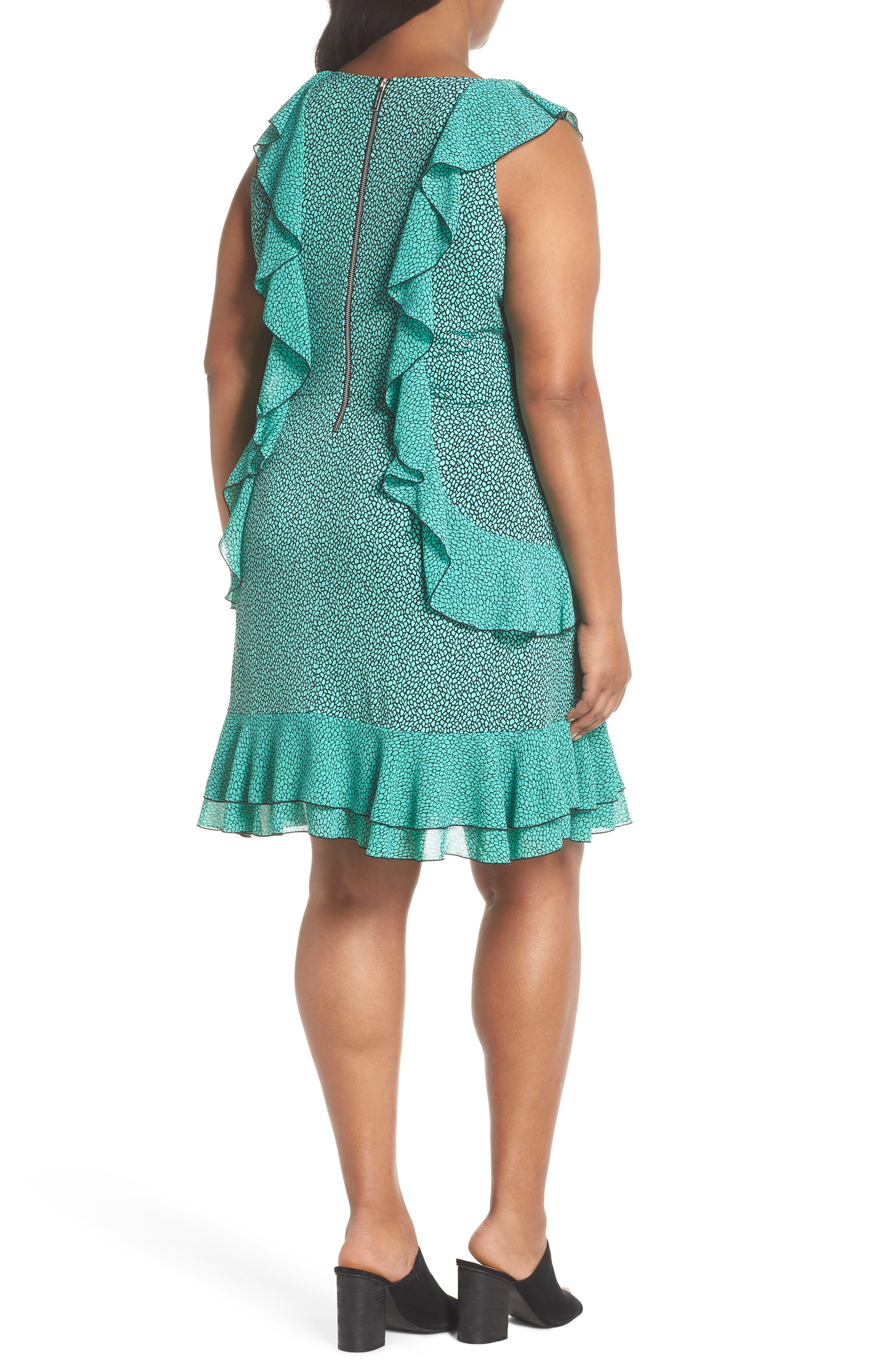 Cascade Ruffle Dress,                             Alternate thumbnail 2, color,                             AQUA/ BLACK