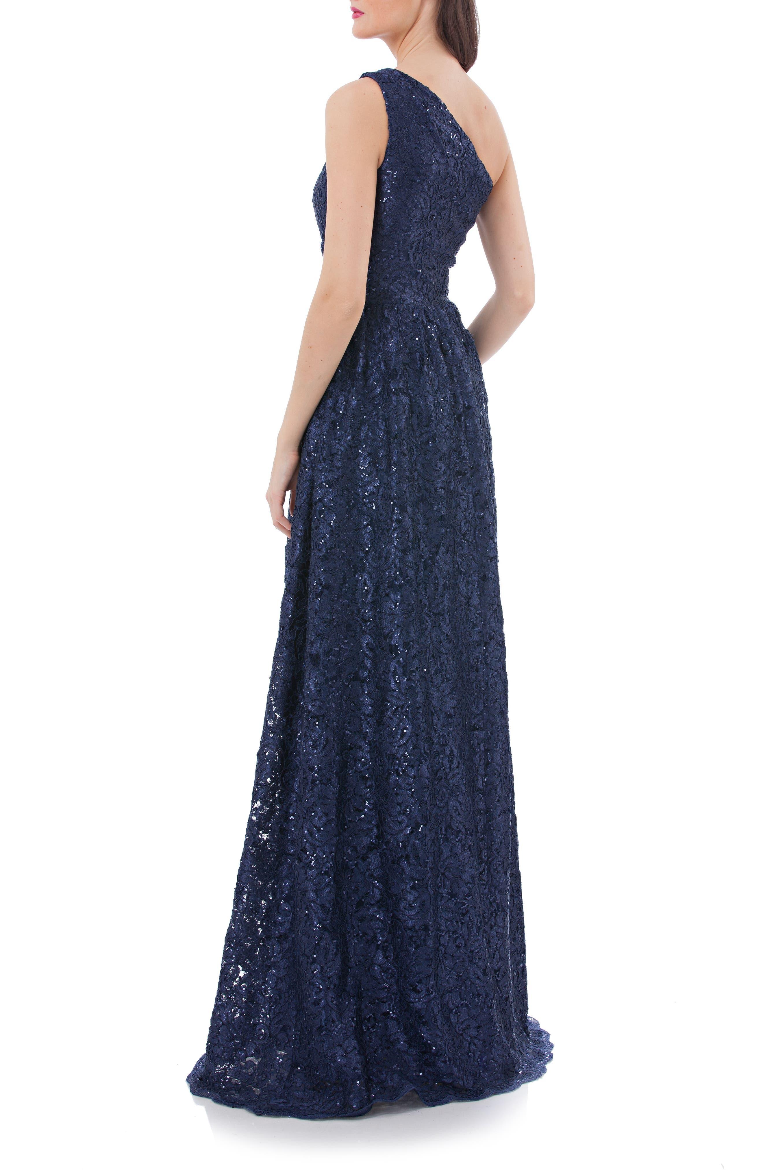 One Shoulder Sequin Lace Gown,                             Alternate thumbnail 2, color,                             400