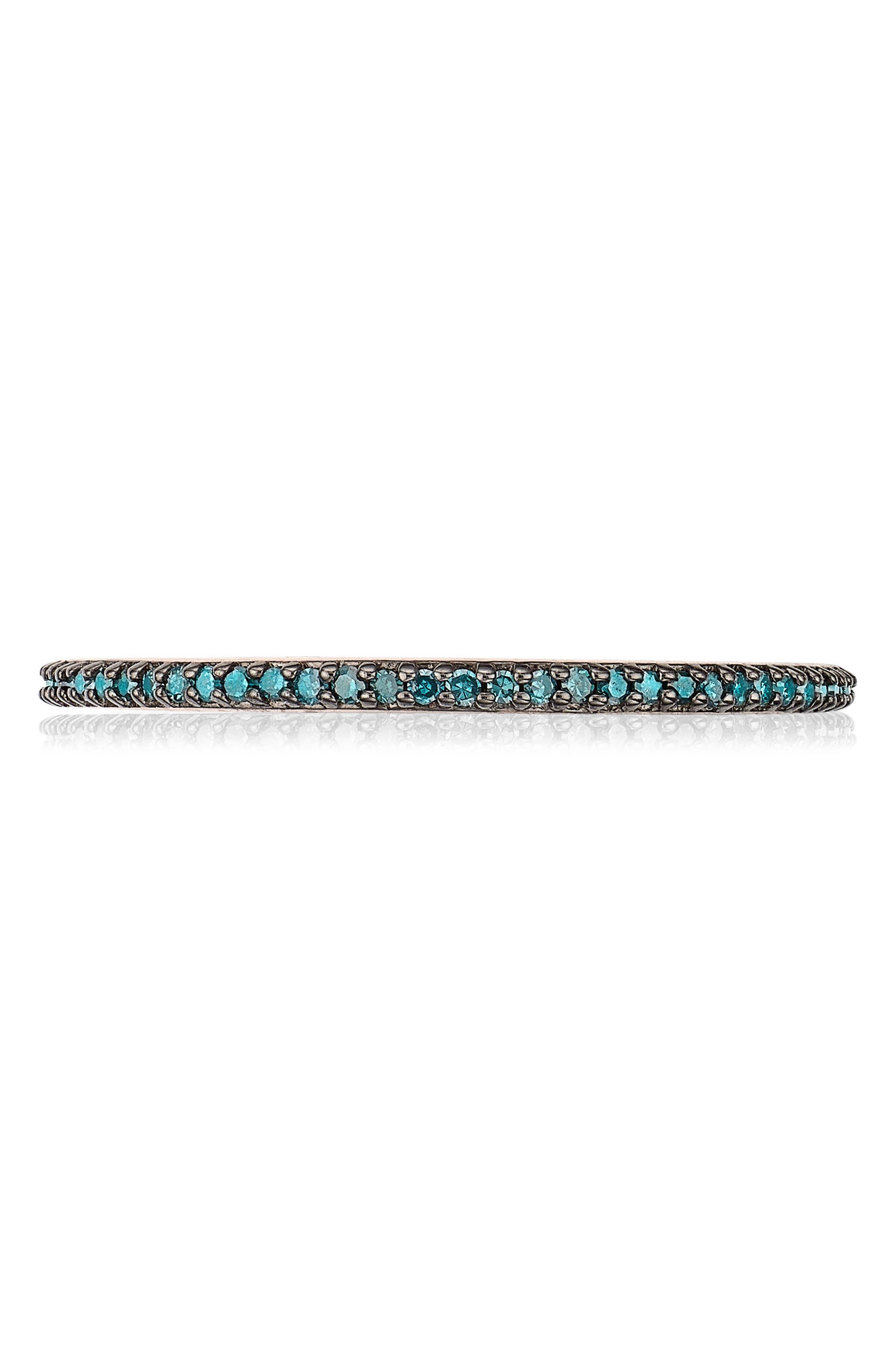 Diamond Eternity Ring,                         Main,                         color, ROSE GOLD/ BLUE DIAMOND
