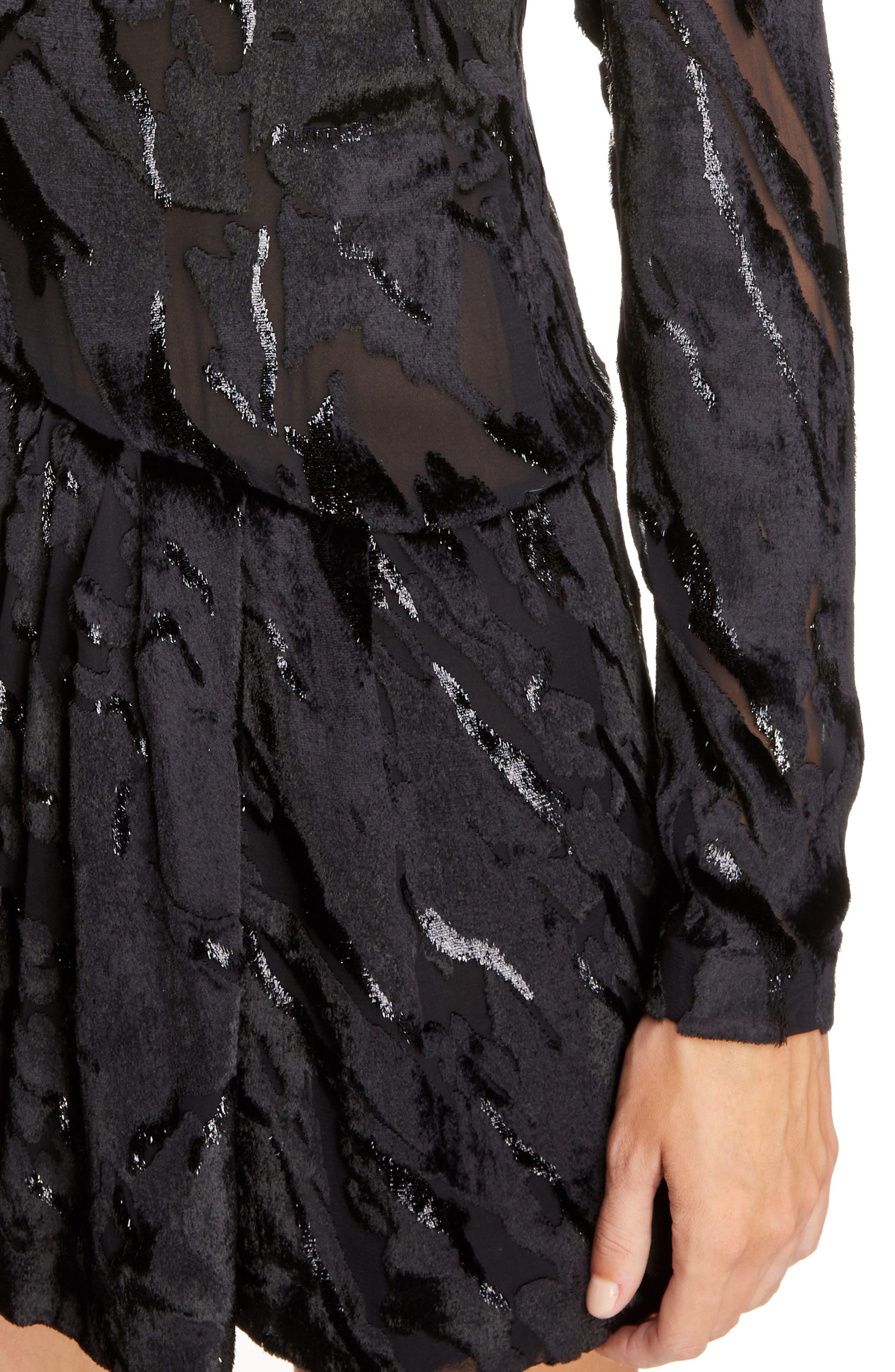 Devoré Asymmetrical Waist Dress,                             Alternate thumbnail 4, color,                             019