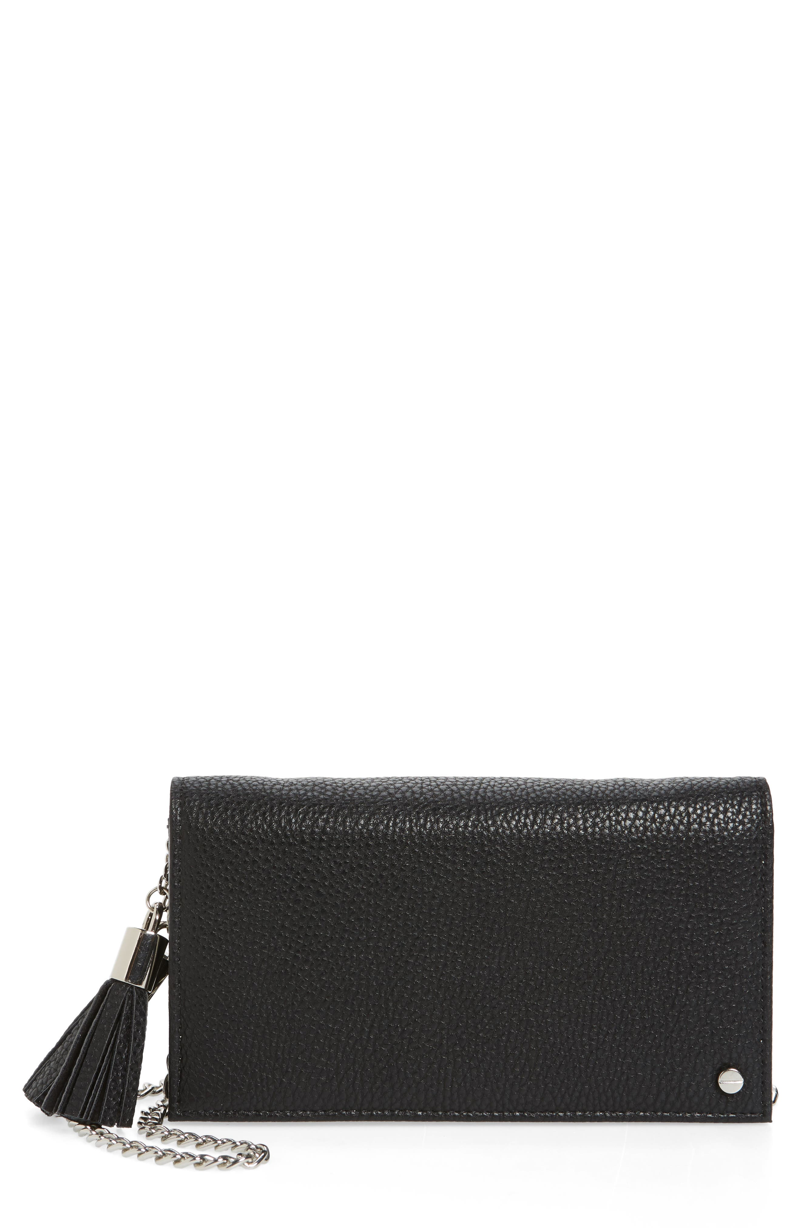 Tassel Convertible Vegan Leather Clutch,                             Main thumbnail 1, color,                             001