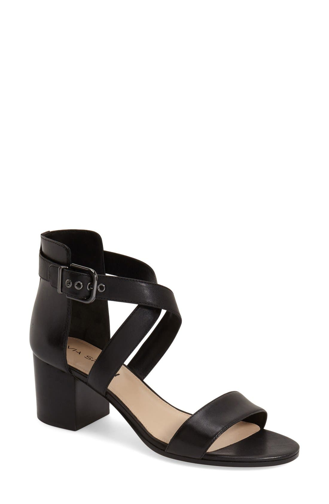 'Jobina' Crisscross Strap Block Heel Sandal,                         Main,                         color, 005