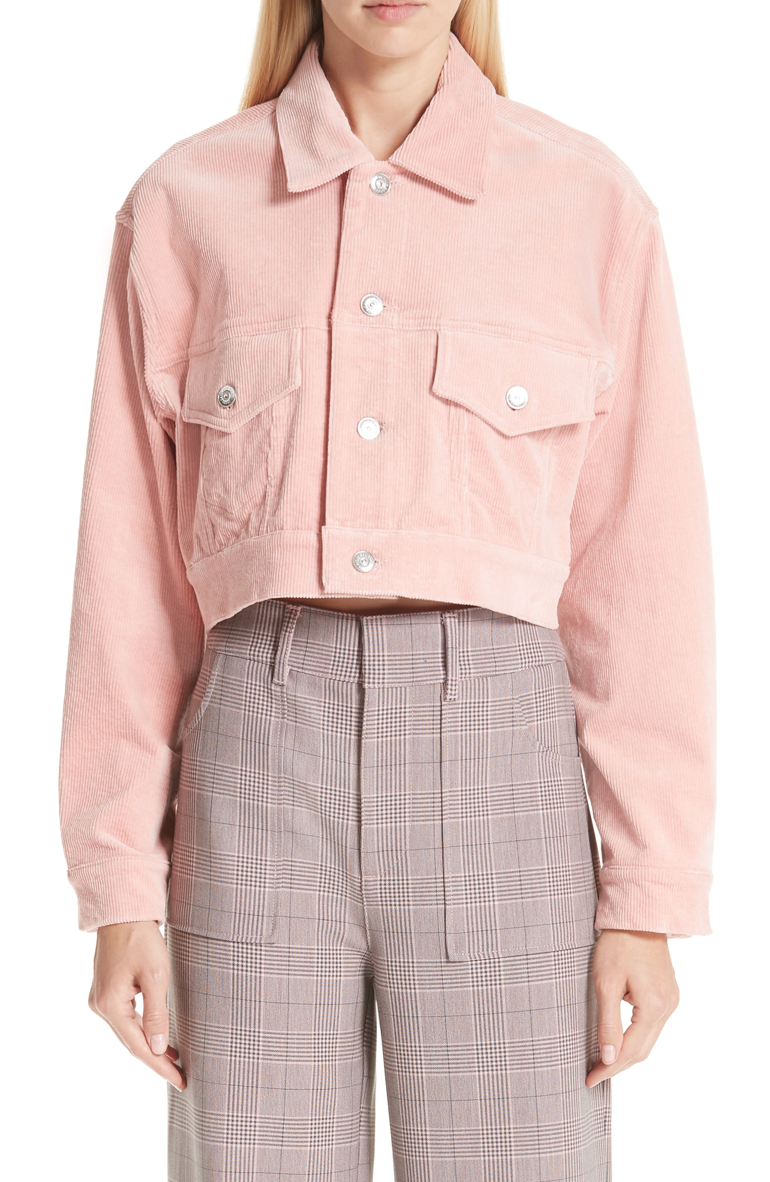 Stretch Corduroy Jacket,                             Main thumbnail 1, color,                             SILVER PINK 499