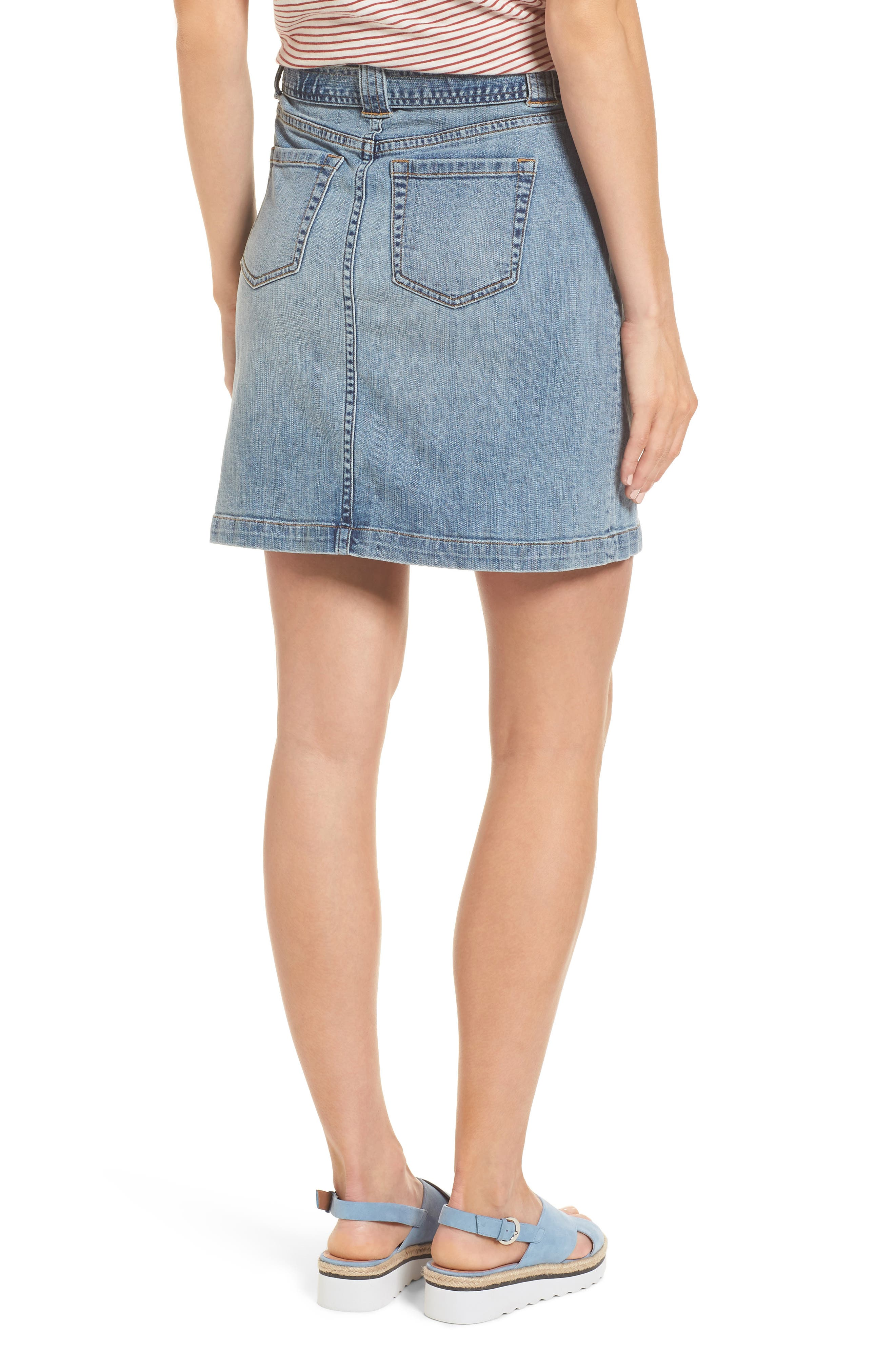 Belted Stretch Denim Skirt,                             Alternate thumbnail 2, color,                             420