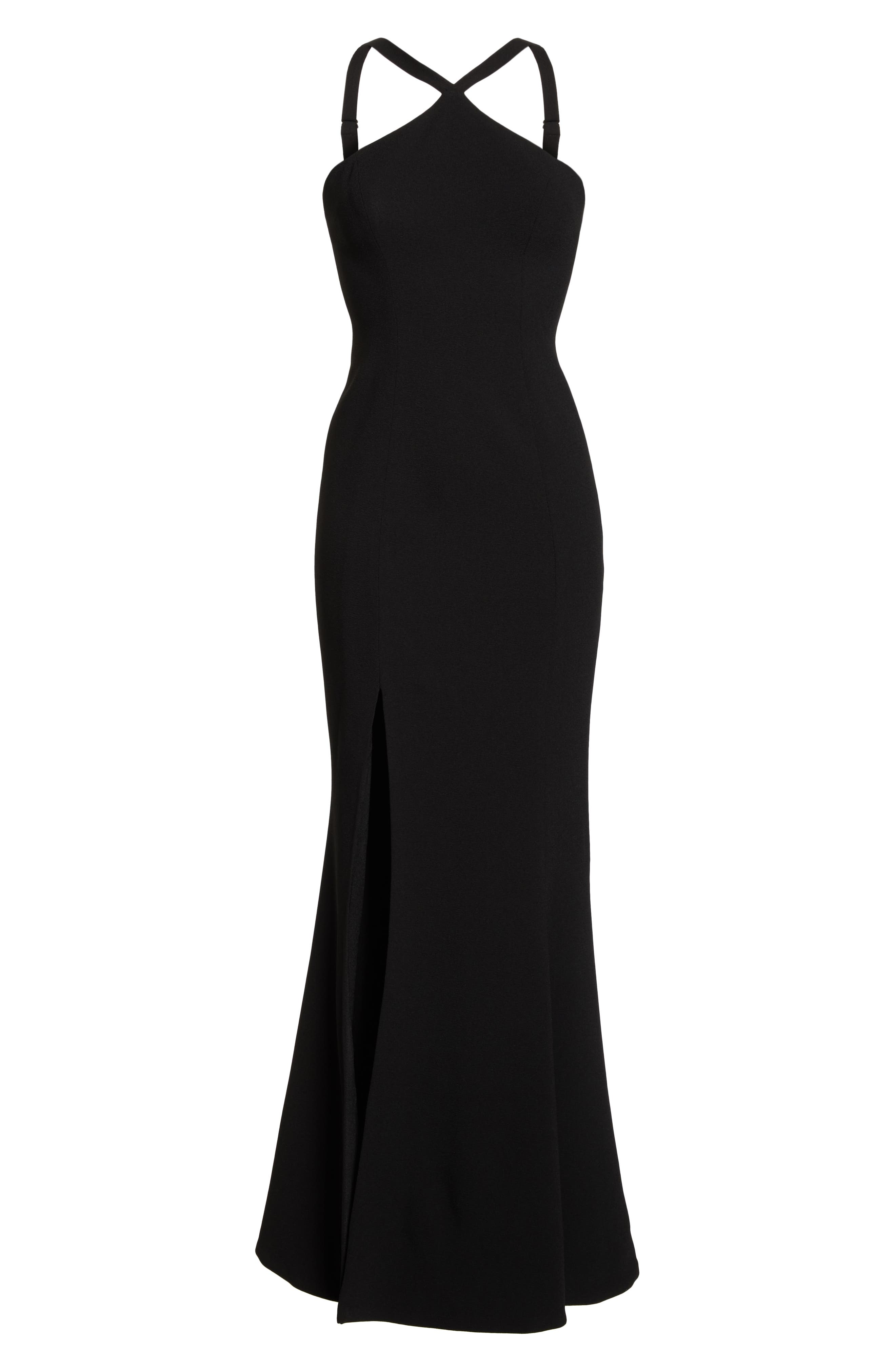Brianna Halter Style Trumpet Gown,                             Alternate thumbnail 7, color,                             BLACK