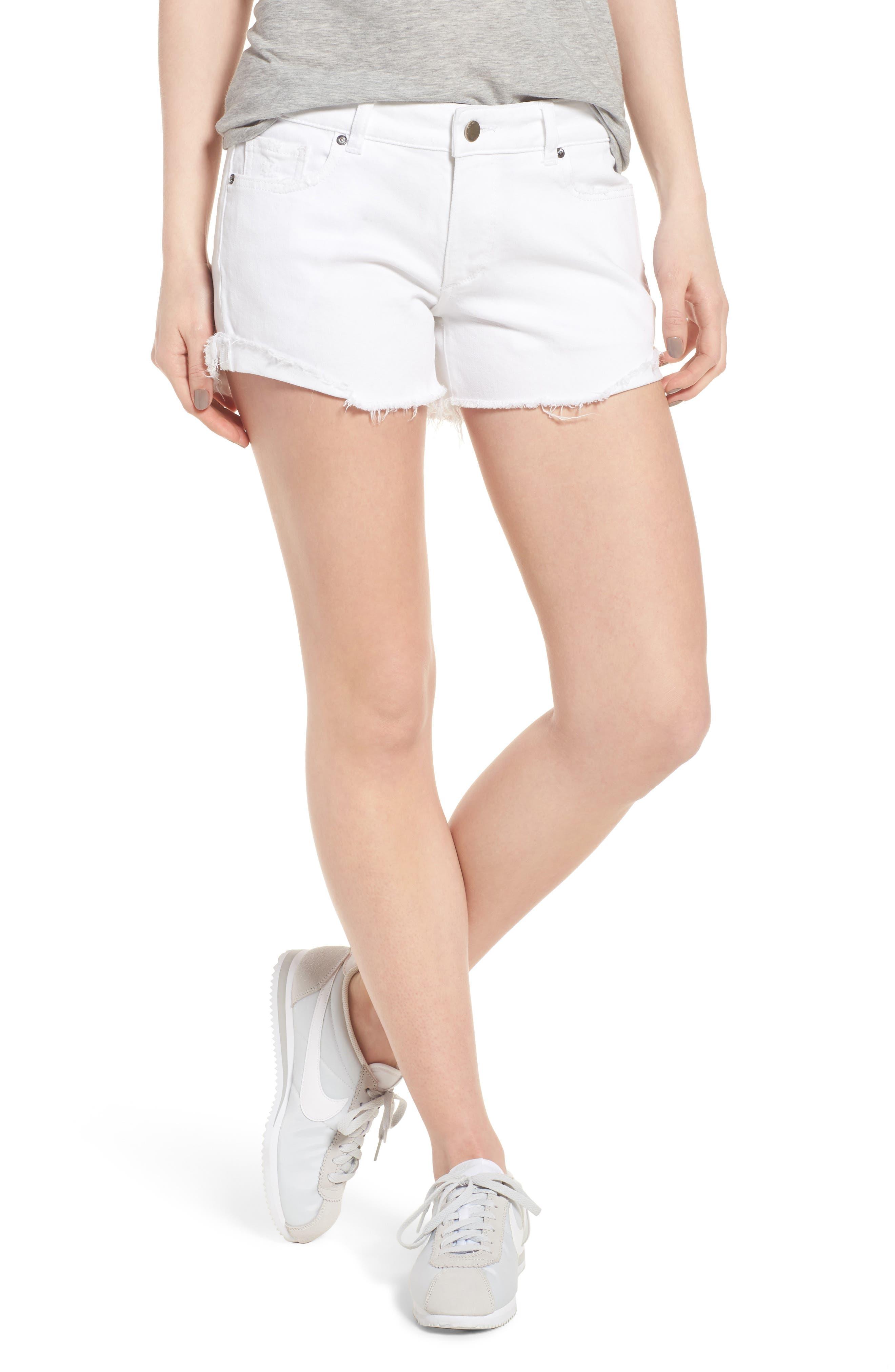 Karlie Cutoff Denim Boyfriend Shorts,                         Main,                         color, 100