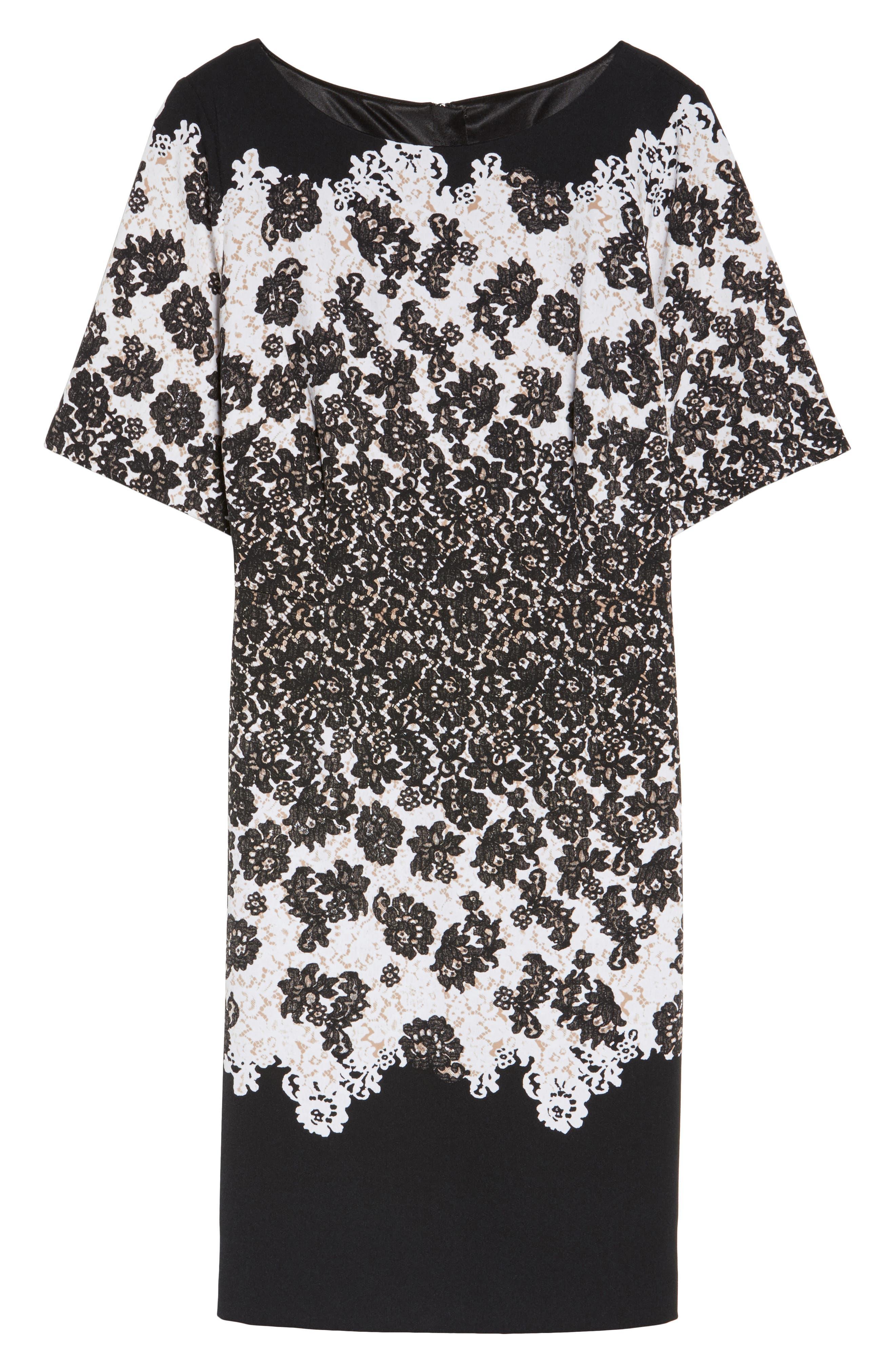 Lace Print Fit & Flare Dress,                             Alternate thumbnail 6, color,