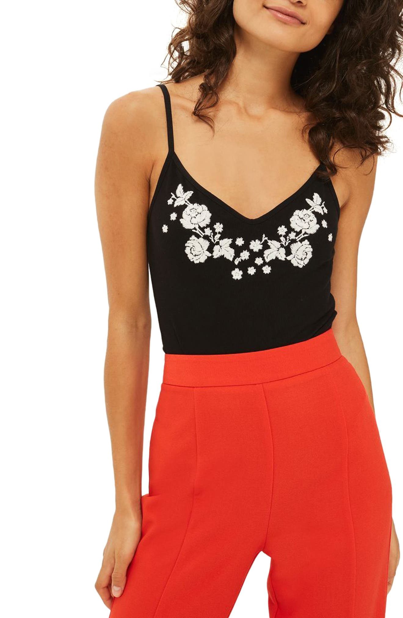Embroidered Tie Back Bodysuit,                             Main thumbnail 1, color,                             001