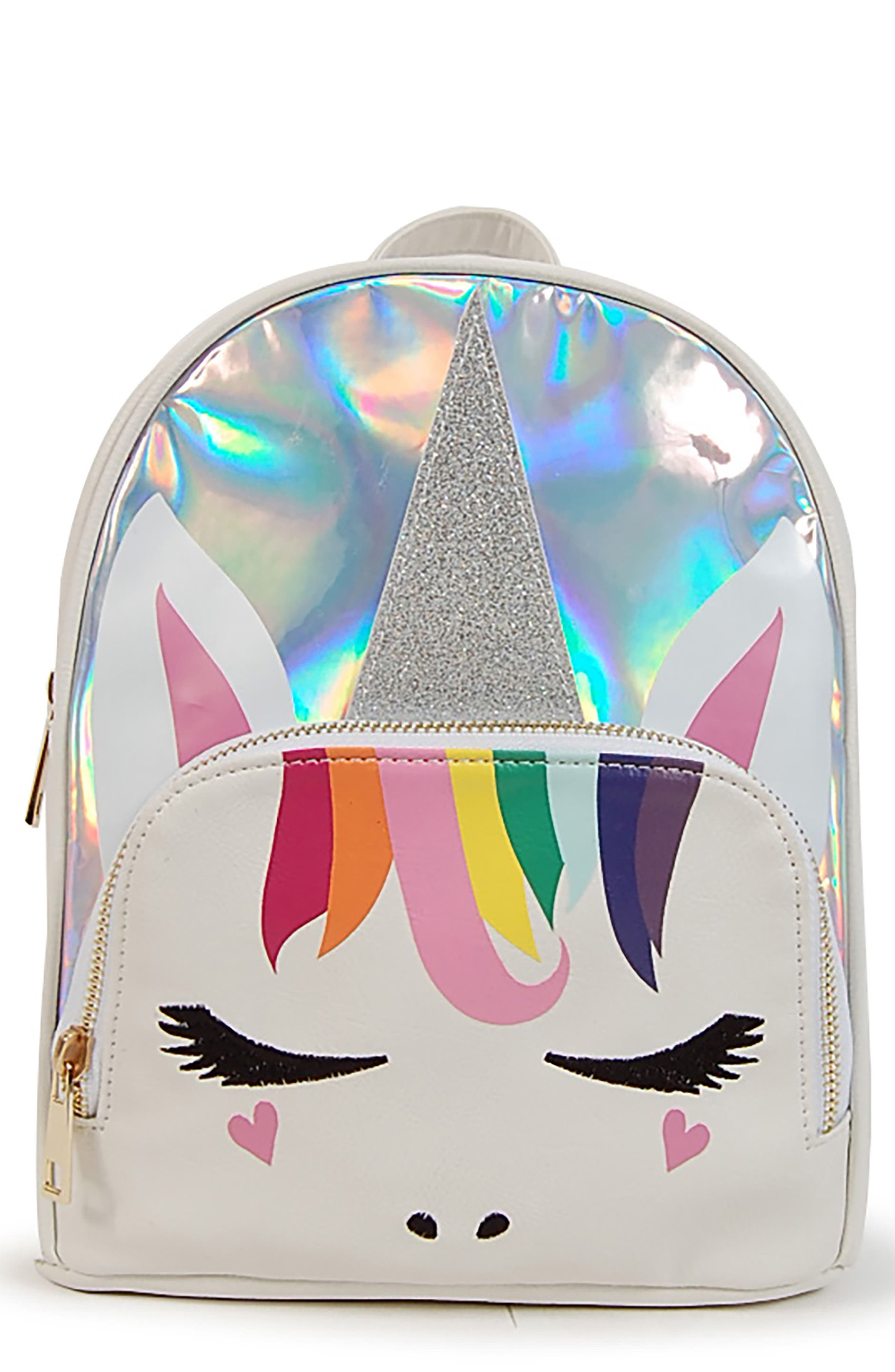 Mini Silver Unicorn Backpack,                             Main thumbnail 1, color,                             SILVER