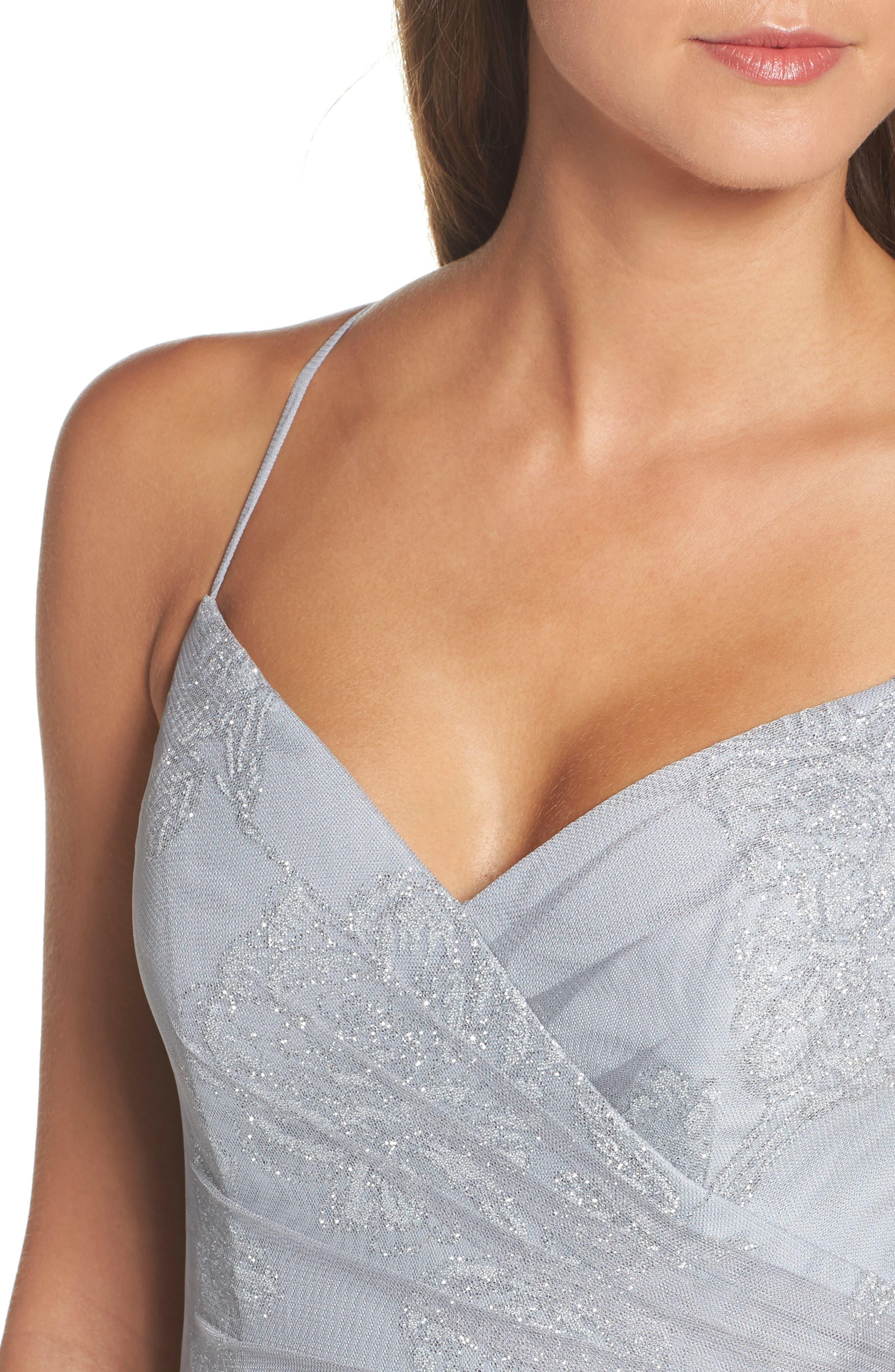 Embellished Bodice Net Halter Gown,                             Alternate thumbnail 4, color,                             PEWTER