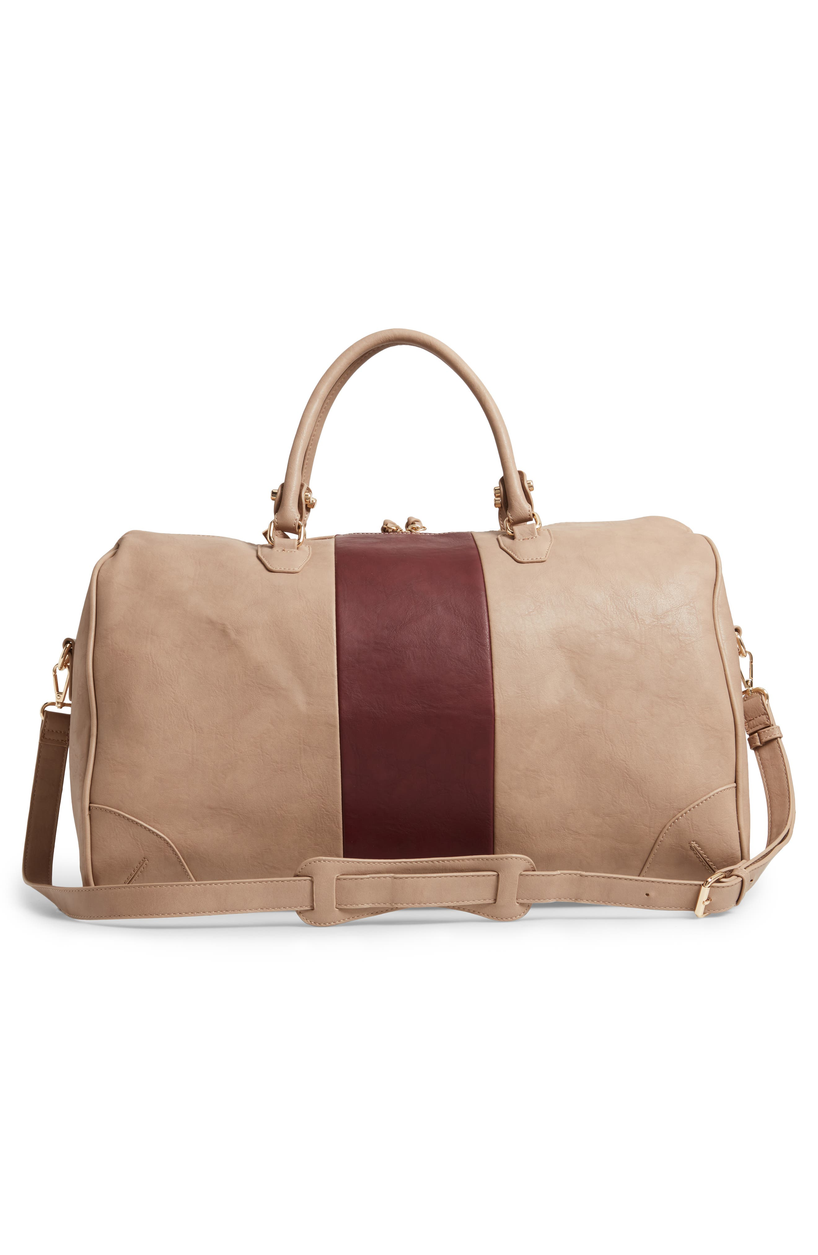 'Robin' Faux Leather Weekend Bag,                             Alternate thumbnail 3, color,                             TAUPE