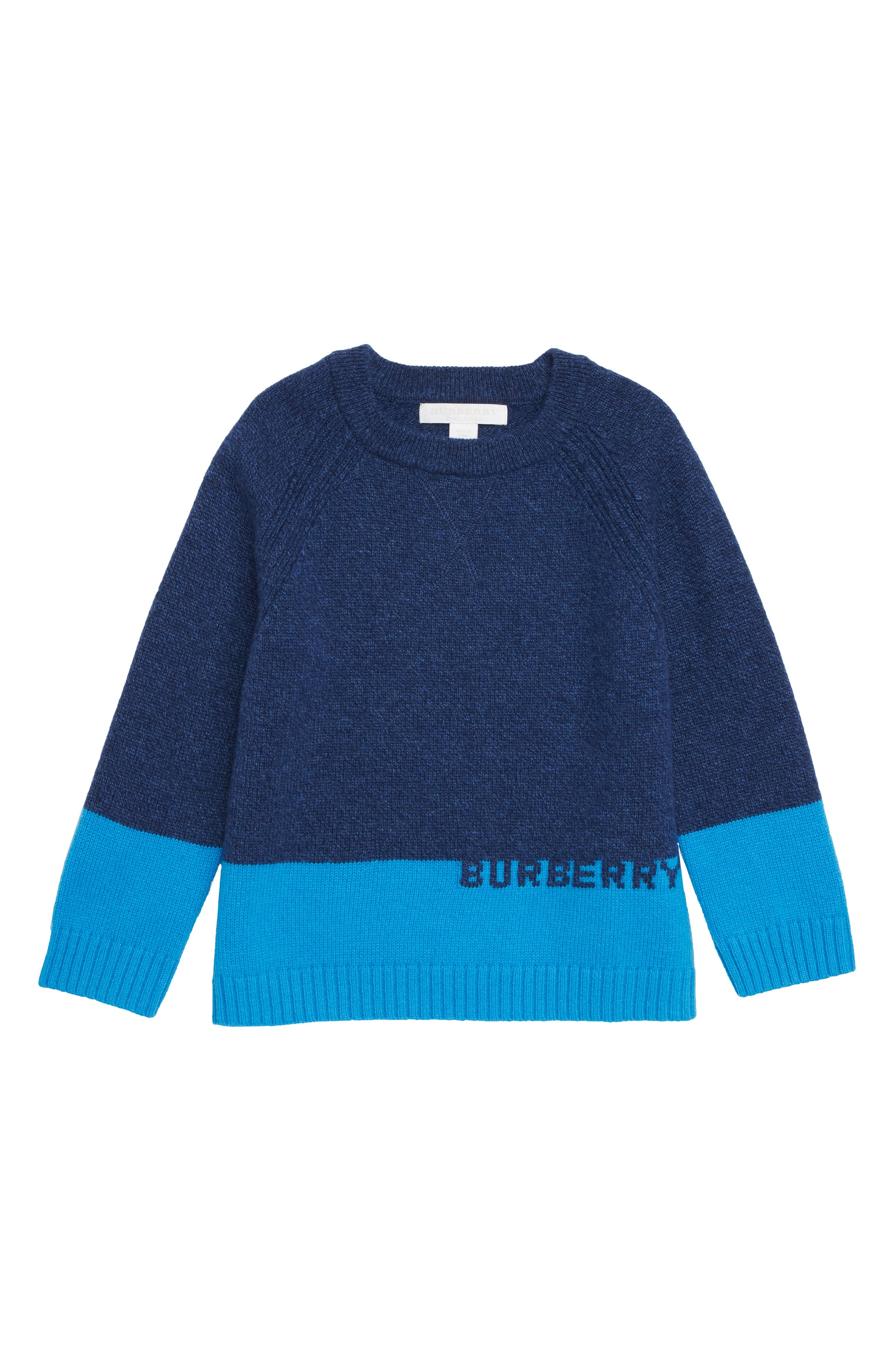 Boys Burberry Logo Intarsia Pullover Sweater Size 12Y  Blue