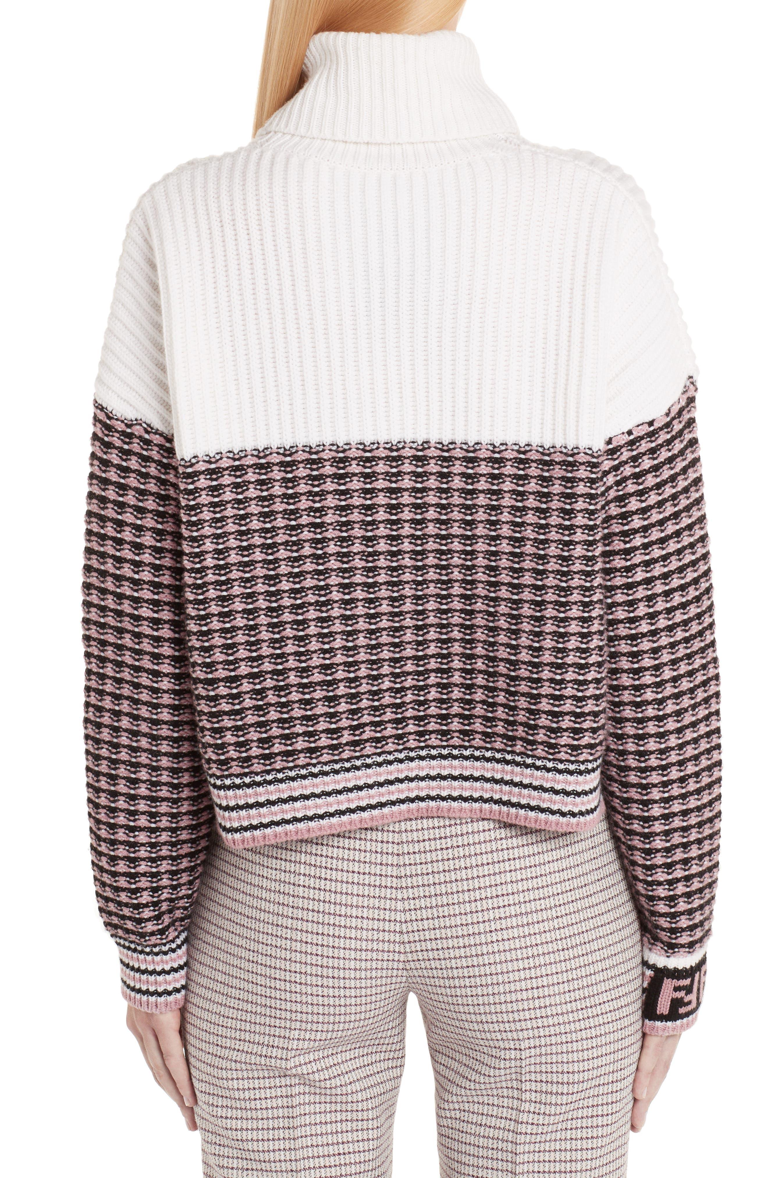 Microcheck Wool & Cashmere Sweater,                             Alternate thumbnail 2, color,                             ARUBA PINK