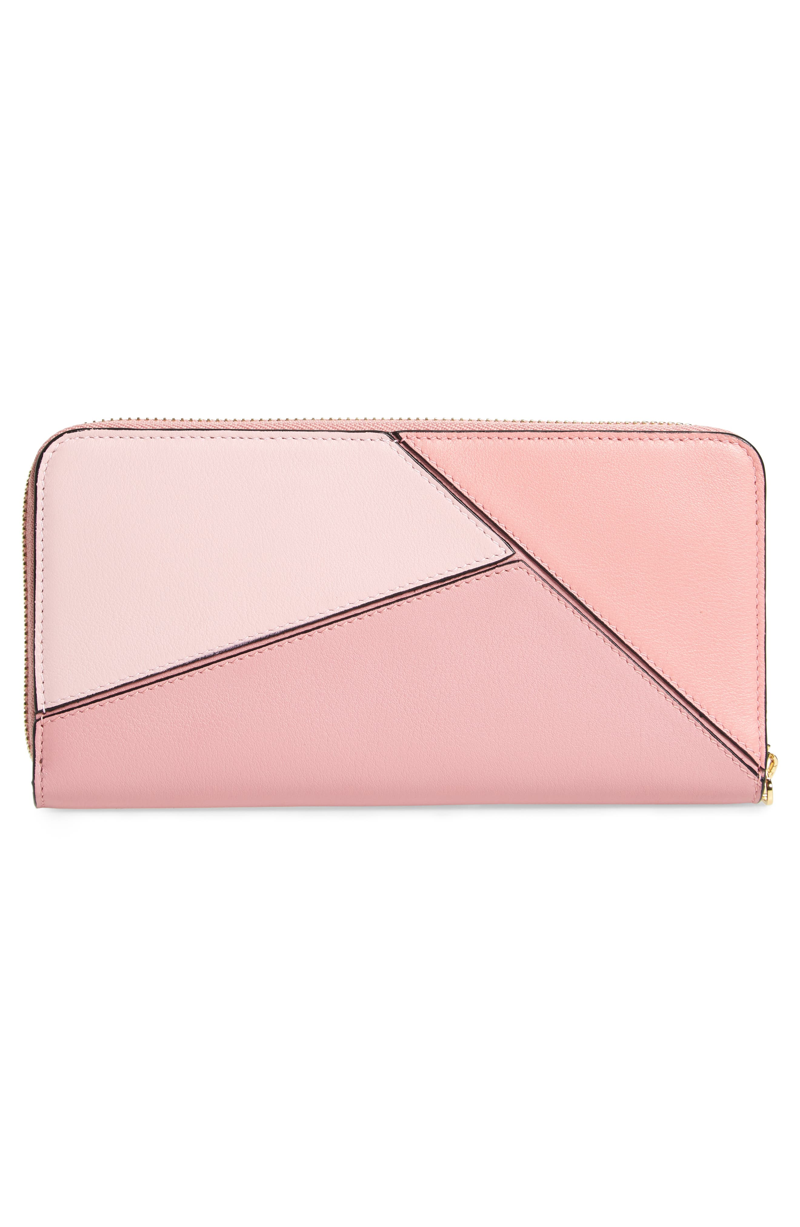 Puzzle Leather Zip Around Wallet,                             Alternate thumbnail 3, color,                             SOFT PINK/ CANDY/ DARK PINK