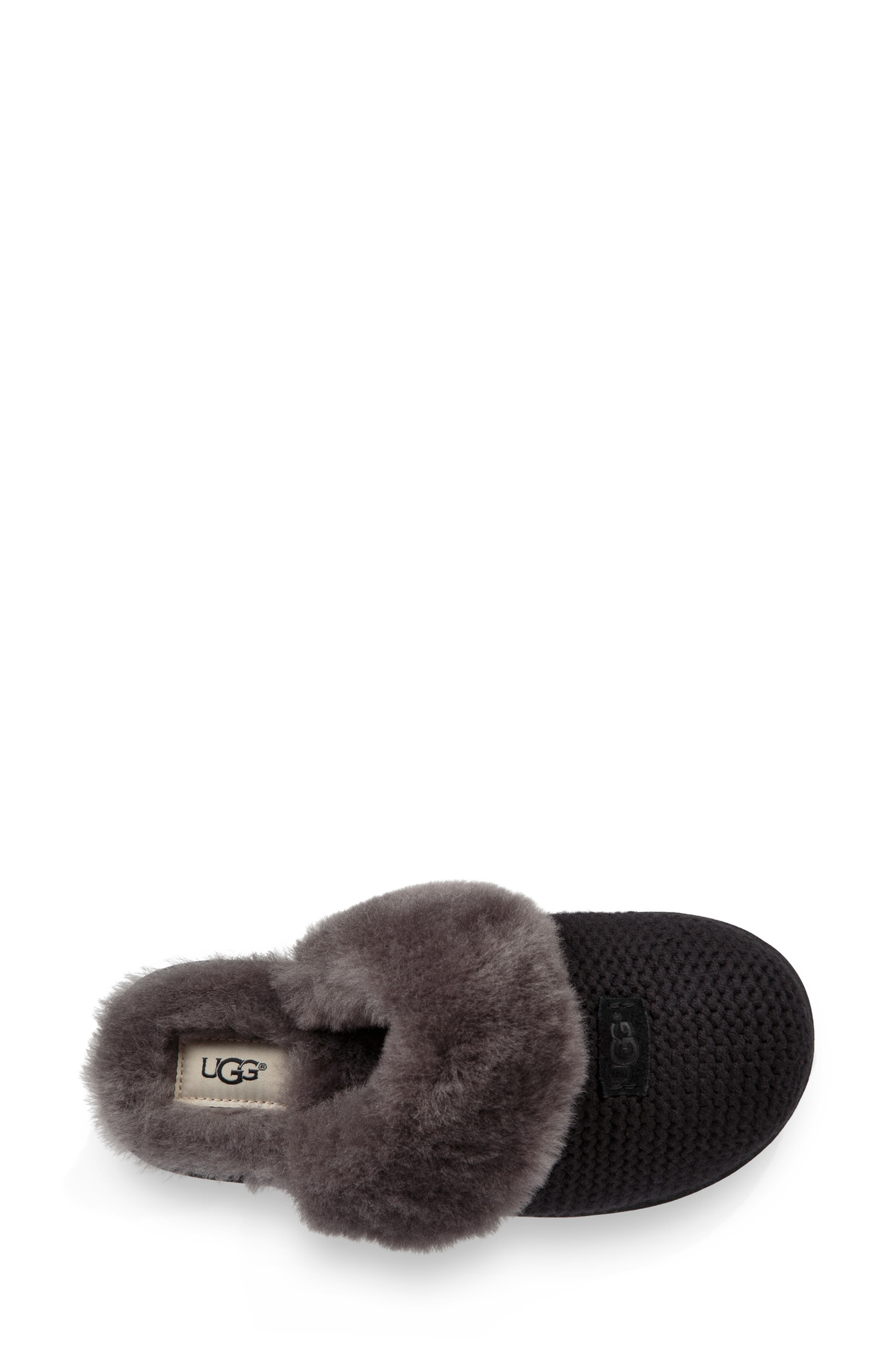 Cozy Knit Genuine Shearling Slipper,                             Alternate thumbnail 4, color,                             BLACK