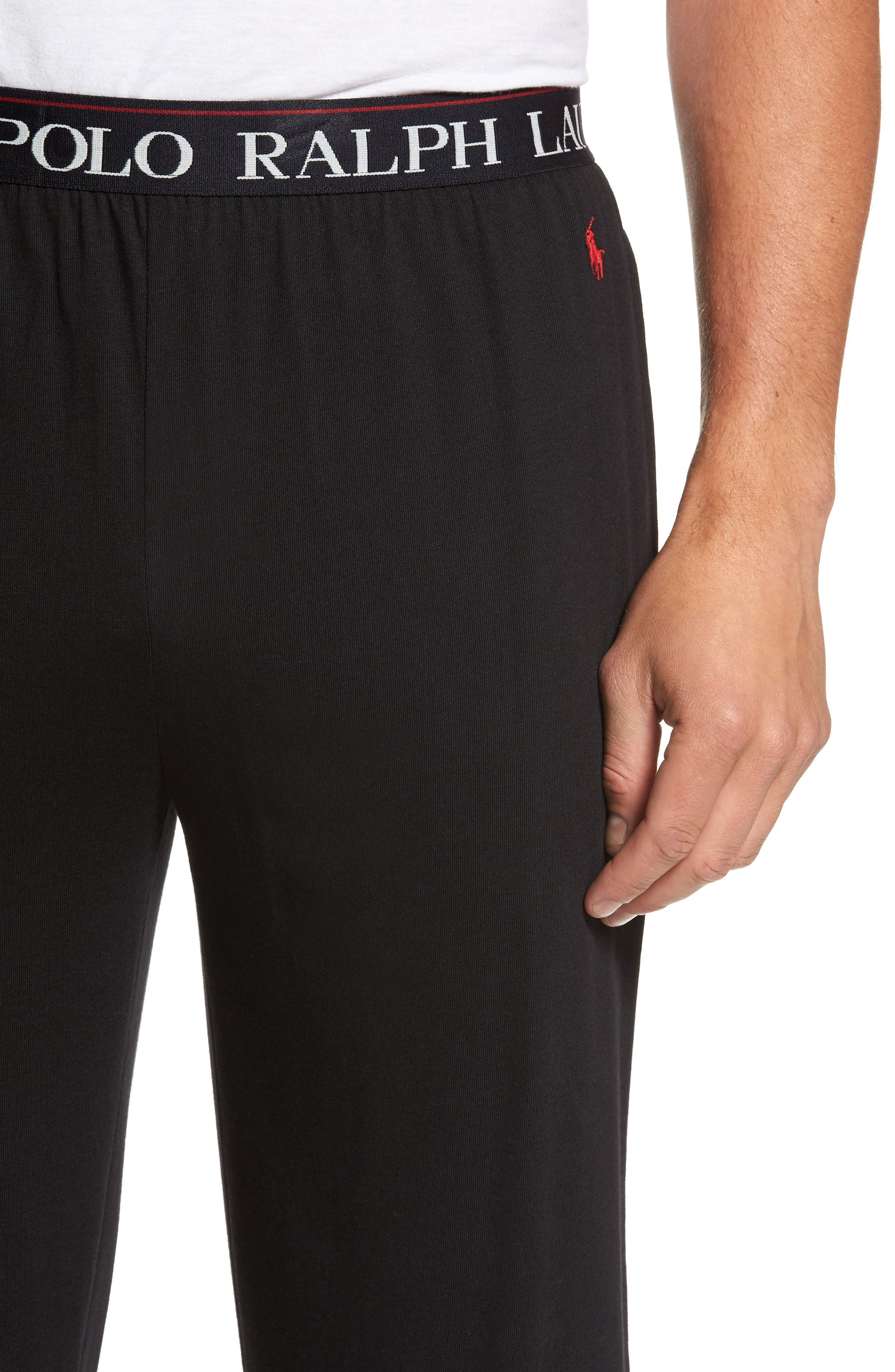 Cotton & Modal Lounge Pants,                             Alternate thumbnail 4, color,                             POLO BLACK