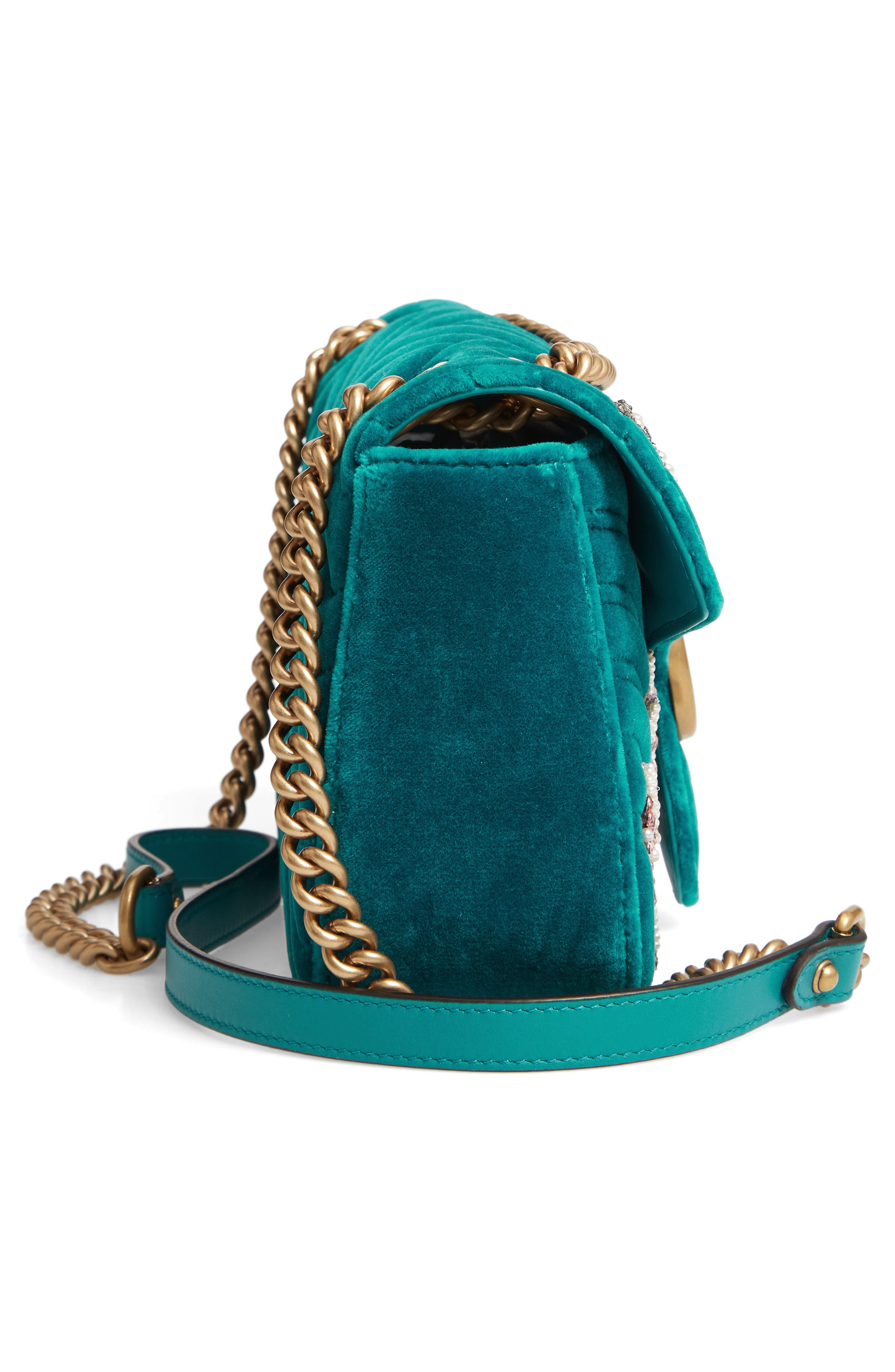 GG Marmont 2.0 Matelassé Velvet Shoulder Bag,                             Alternate thumbnail 5, color,                             440