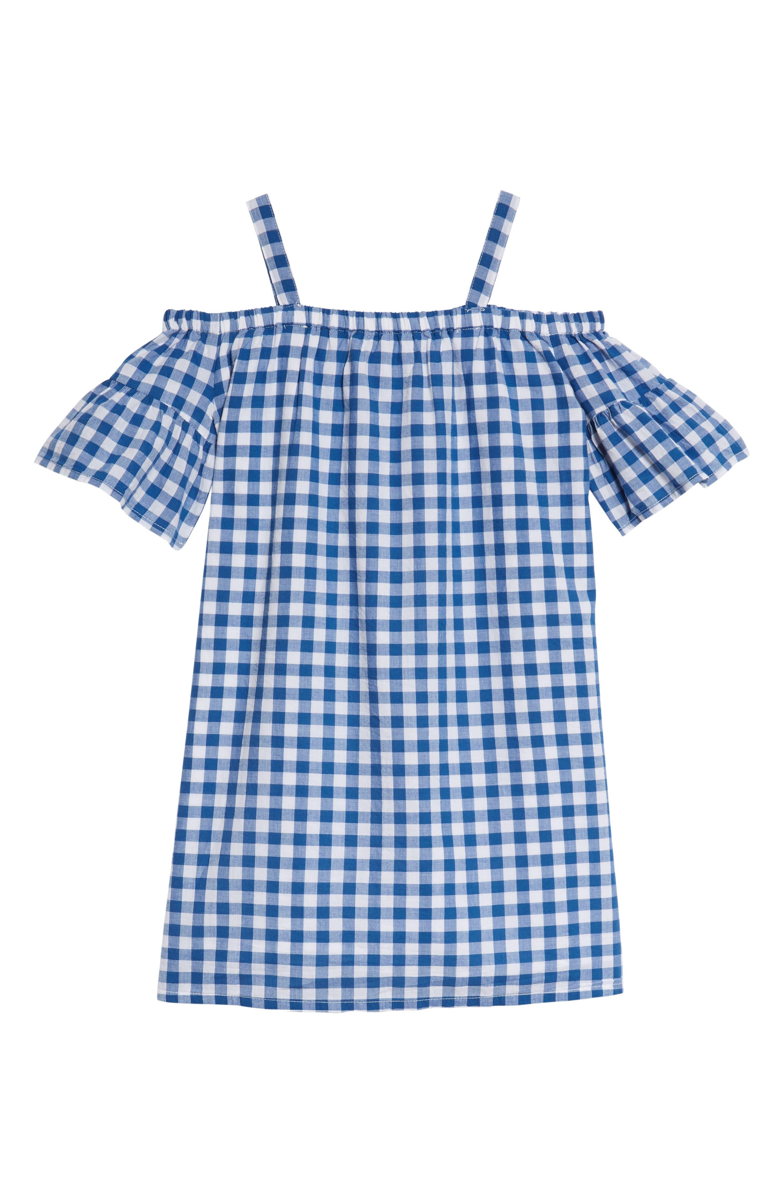 Cold Shoulder Gingham Shift Dress,                             Alternate thumbnail 2, color,