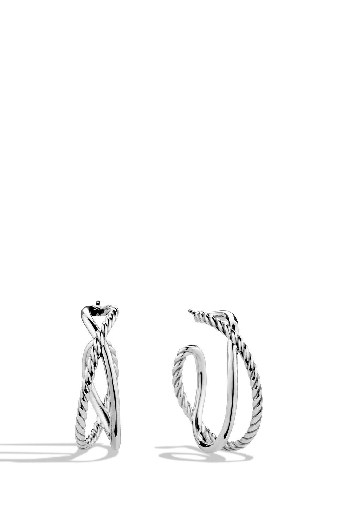 'Crossover' Hoop Earrings,                             Main thumbnail 1, color,                             SILVER