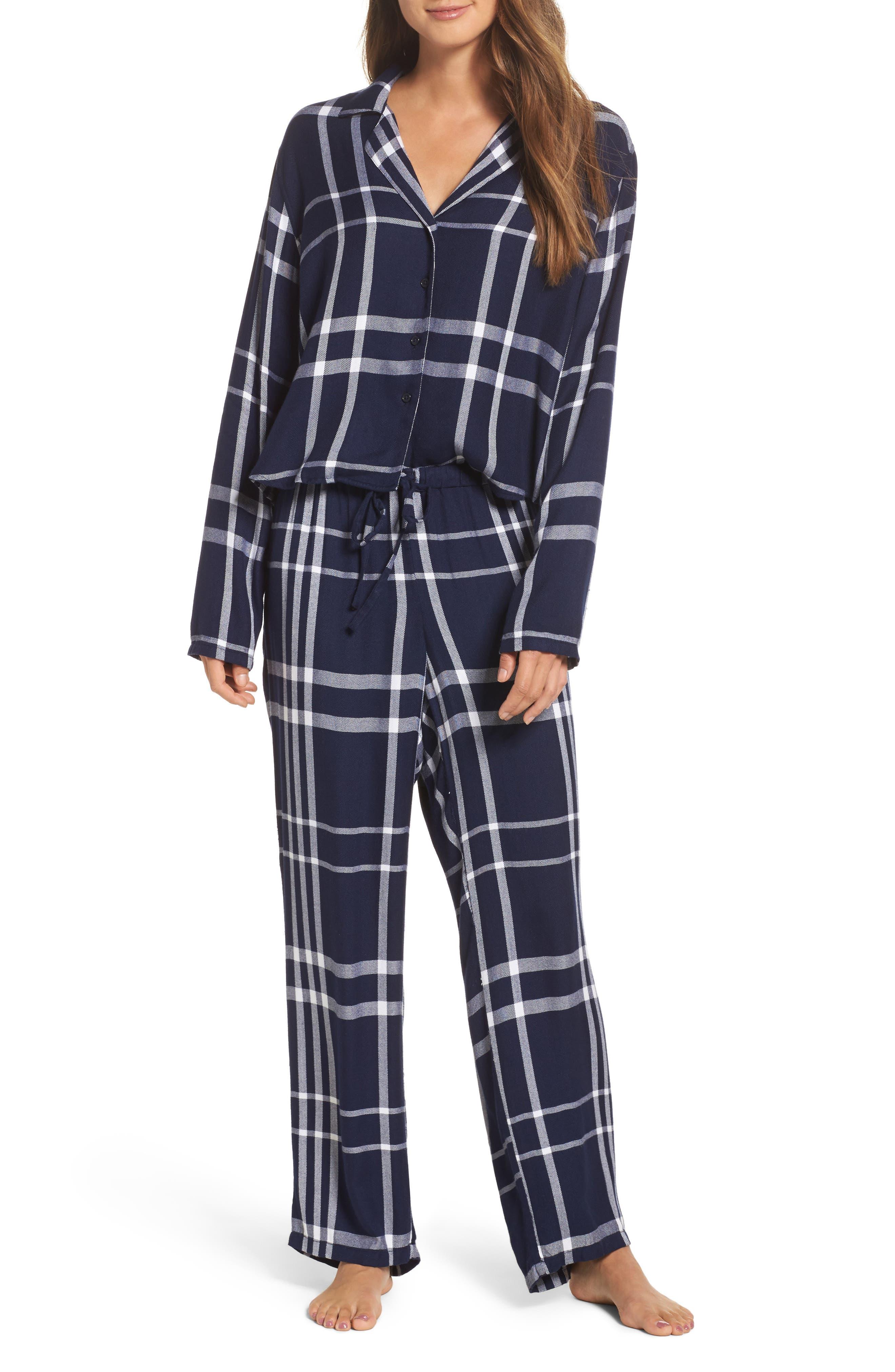 Plaid Pajamas,                             Main thumbnail 1, color,                             CADET/ WHITE