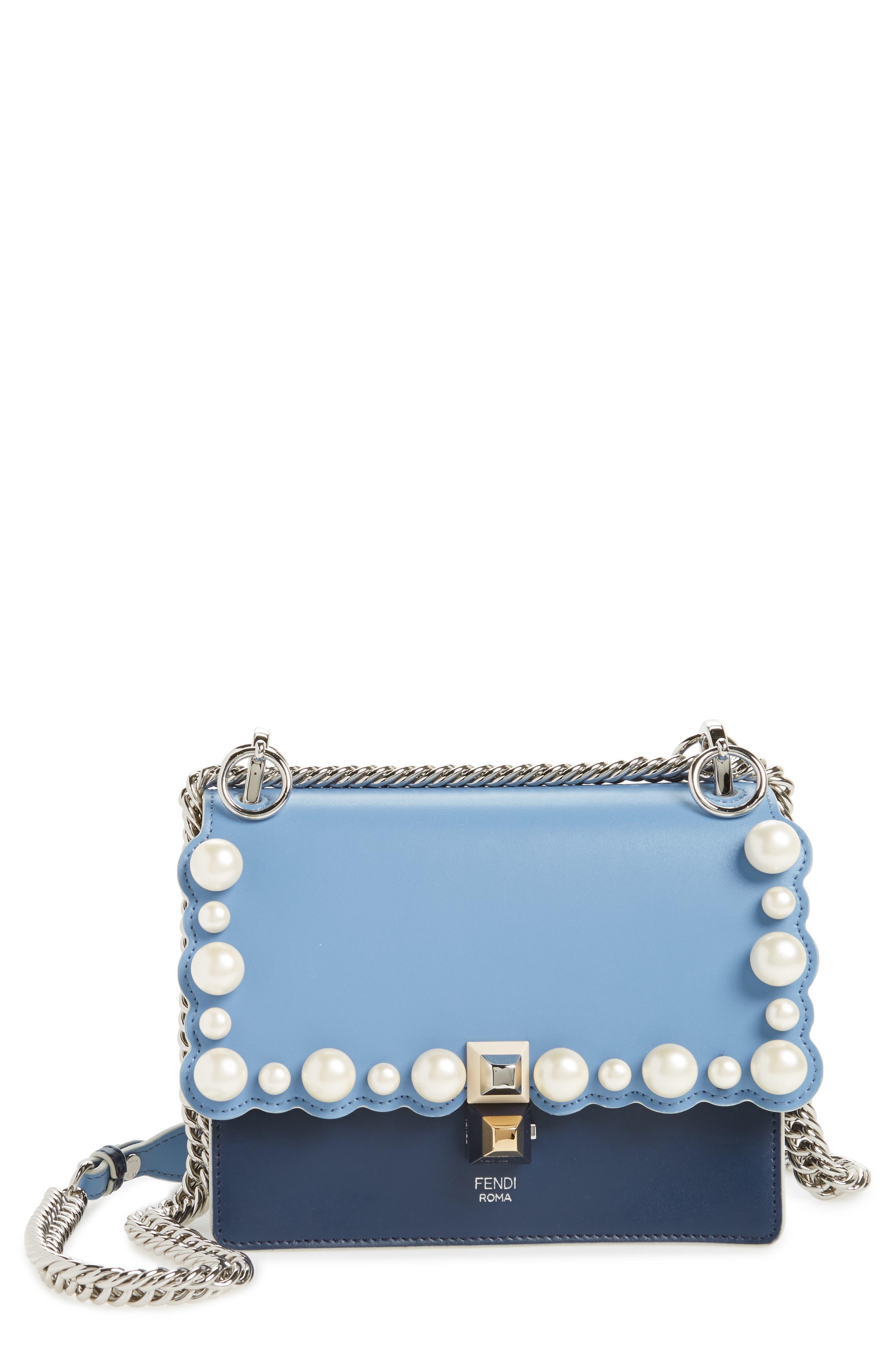 Mini Kan I Imitation Pearl Scallop Leather Shoulder Bag,                             Main thumbnail 1, color,                             BLUE